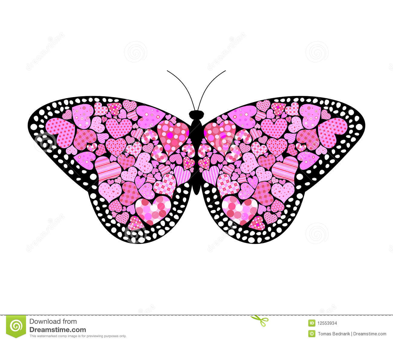 Valentines Butterfly Stock Vector Illustration Of Cute