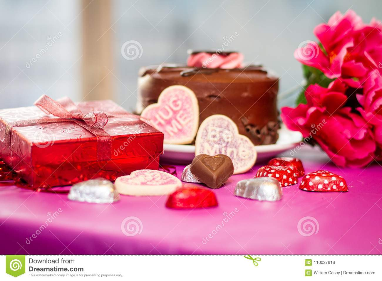 Valentines Cake And Cookies With Present Stock Photo - Image of ...