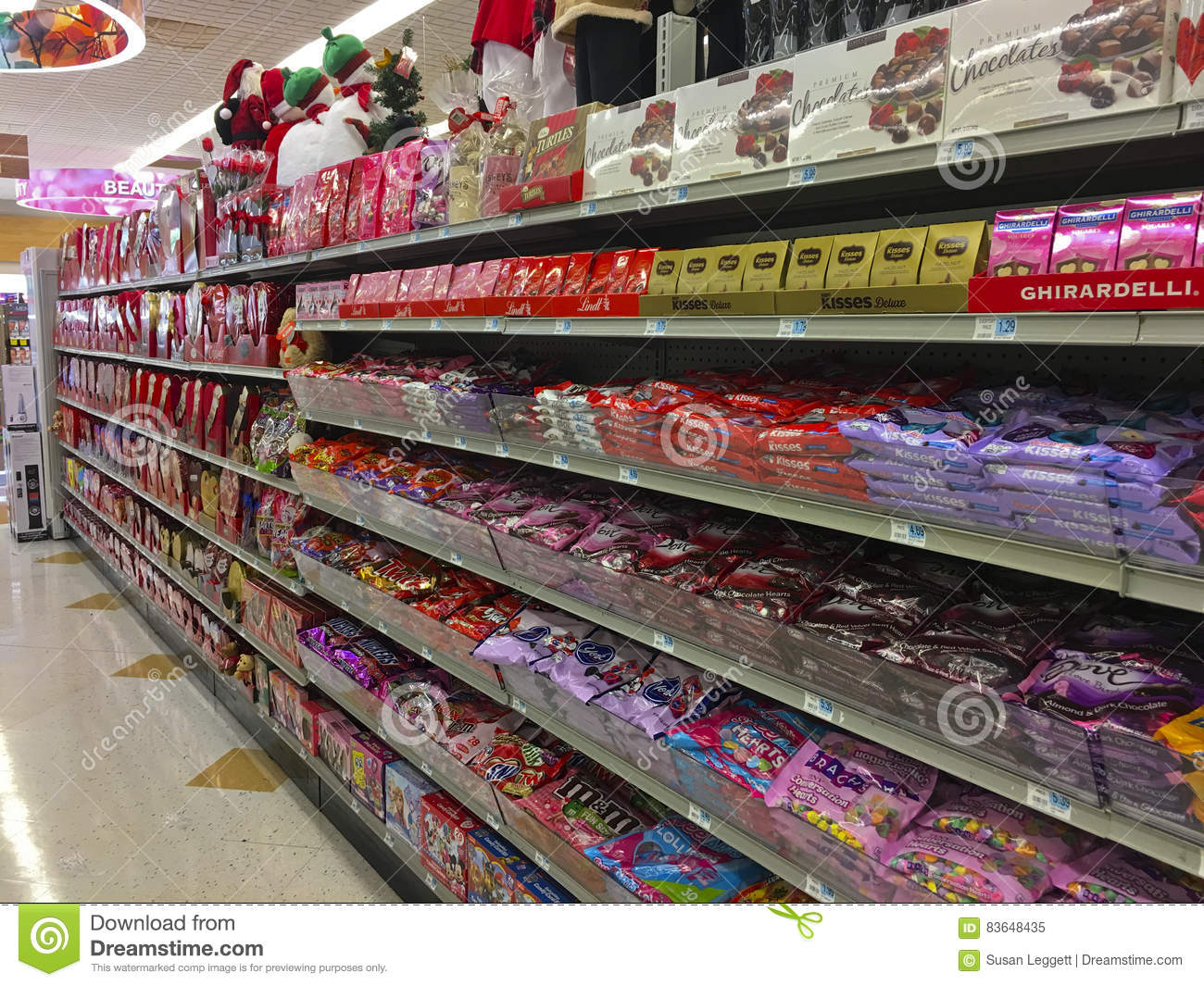 a valentines display on the store shelves in a rite aid drug store set up 5 days ofter christmas