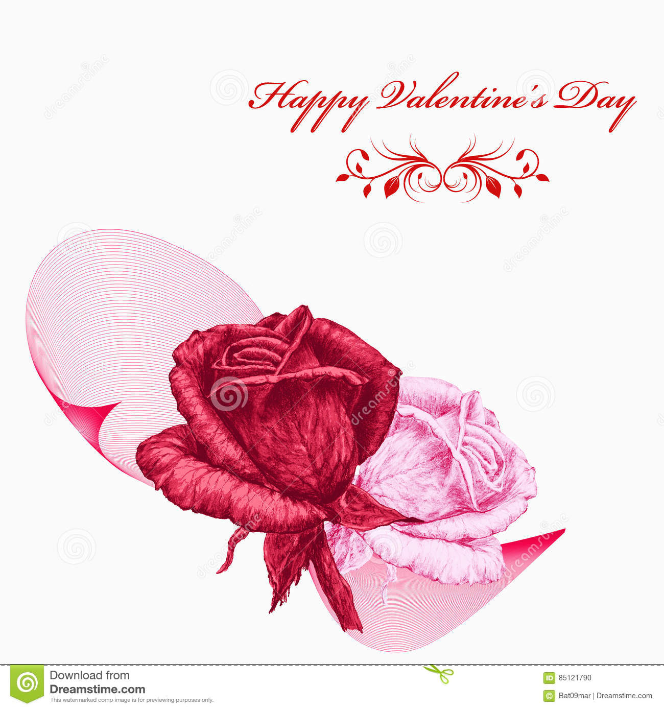 Valentines Card With Red And Pink Roses Over White Background