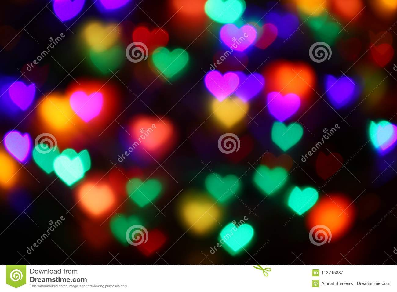 valentines colorful heart-shaped bokeh on black background lighting