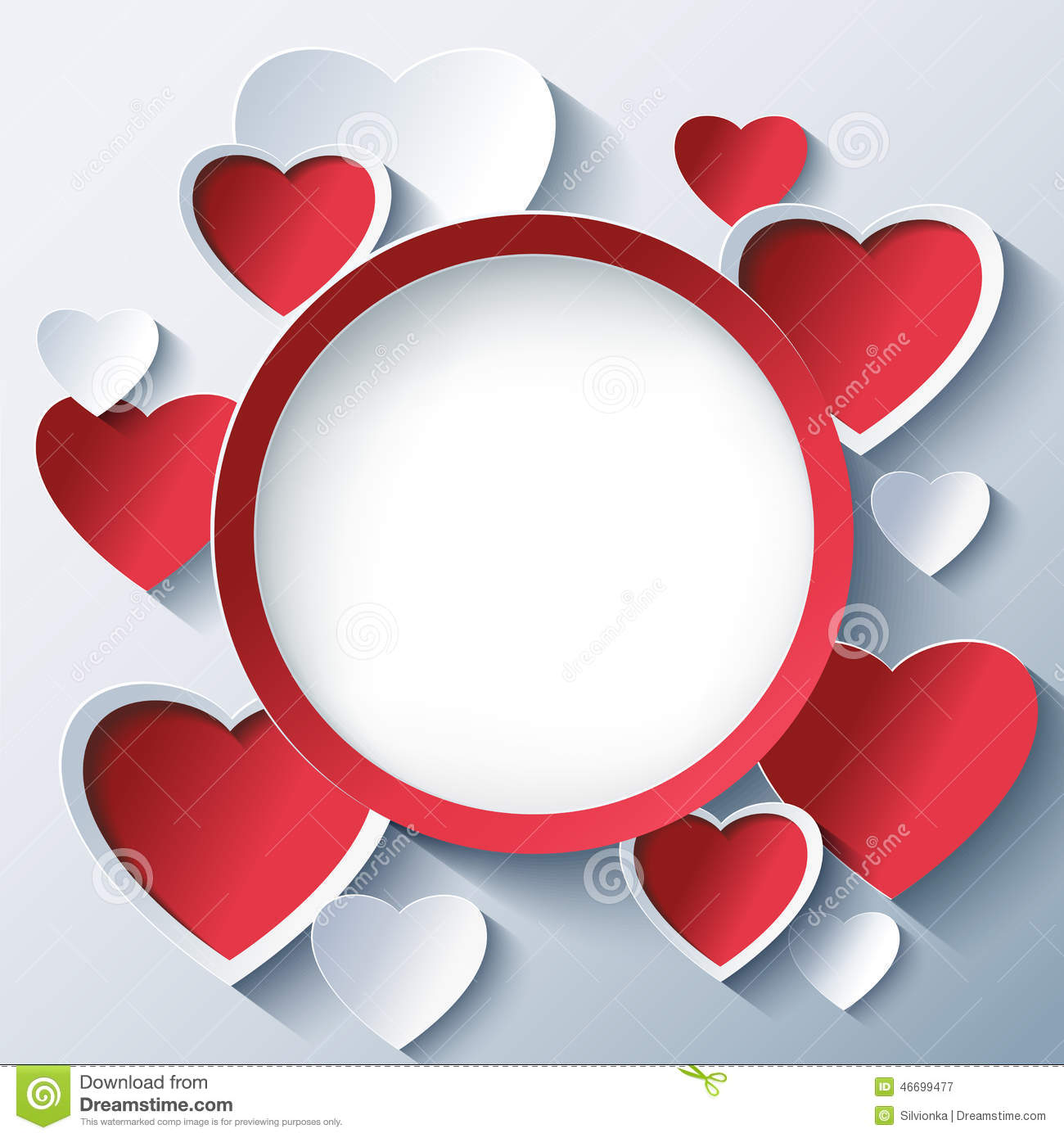 Valentines Day Background Frame With 3d Hearts Stock