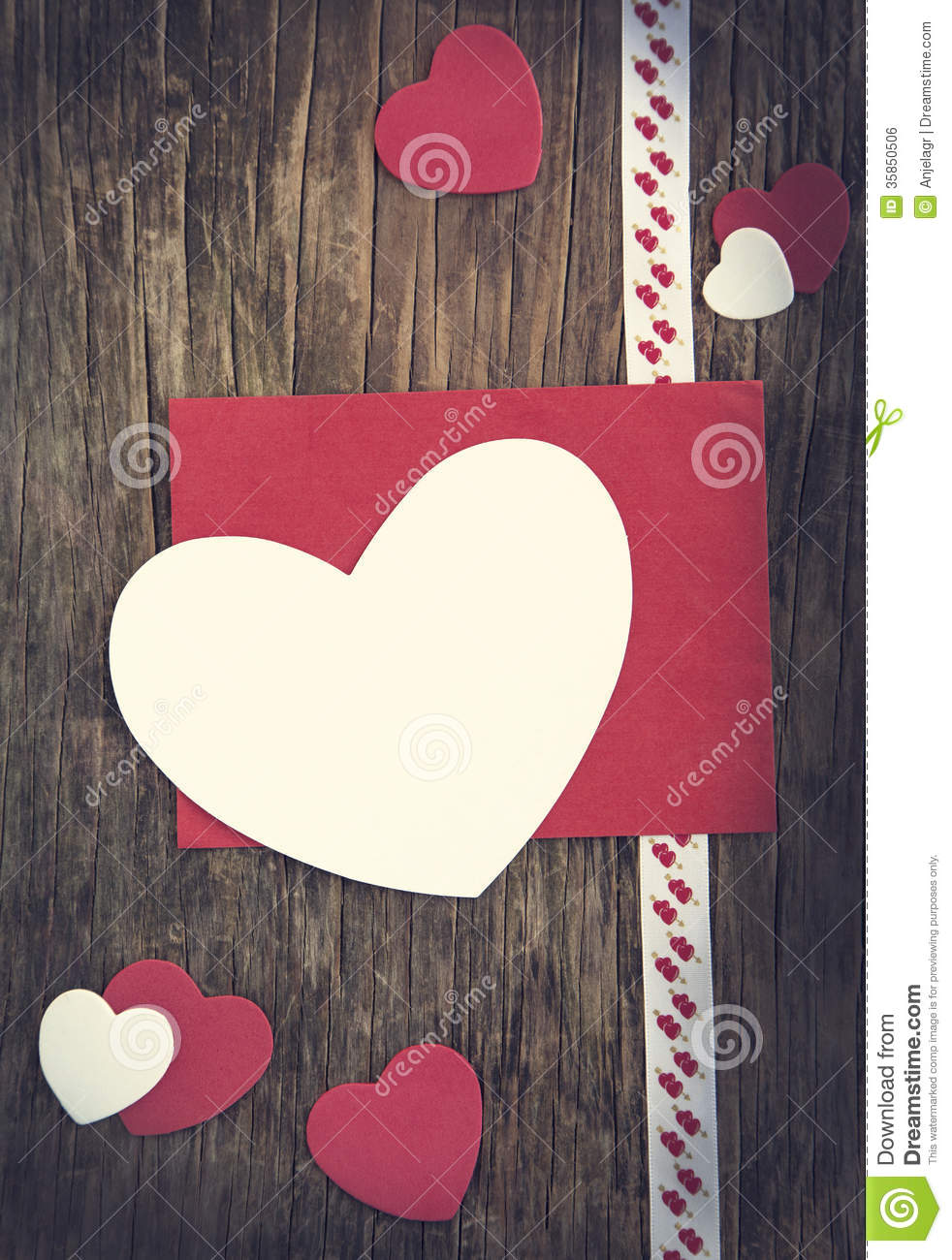 Valentines Day Background With Heart And Greeting Card Stock Photo