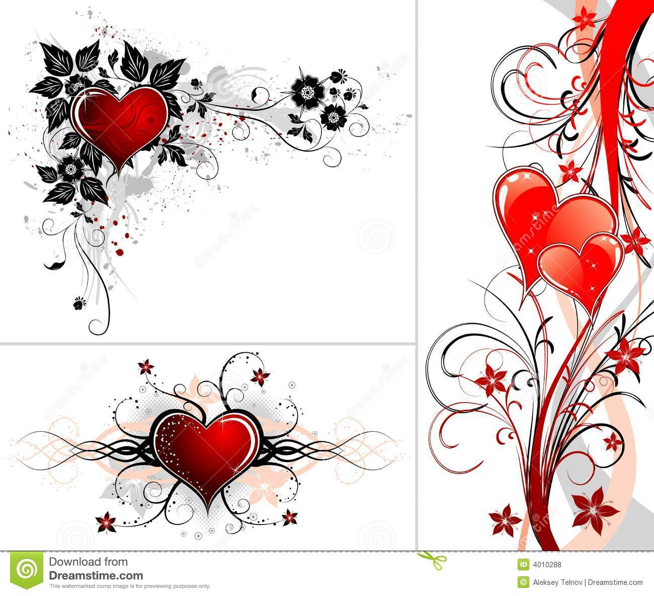 Valentines Day Background With Hearts And Flower Stock Vector