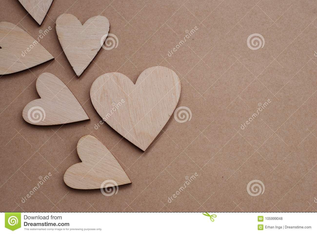 Valentines Day Background With Laser Cut Wooden Hearts On