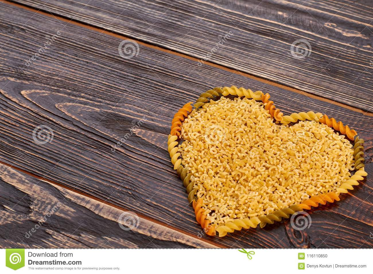 Valentines Day Background With Pasta In Heart Shape Stock Photo