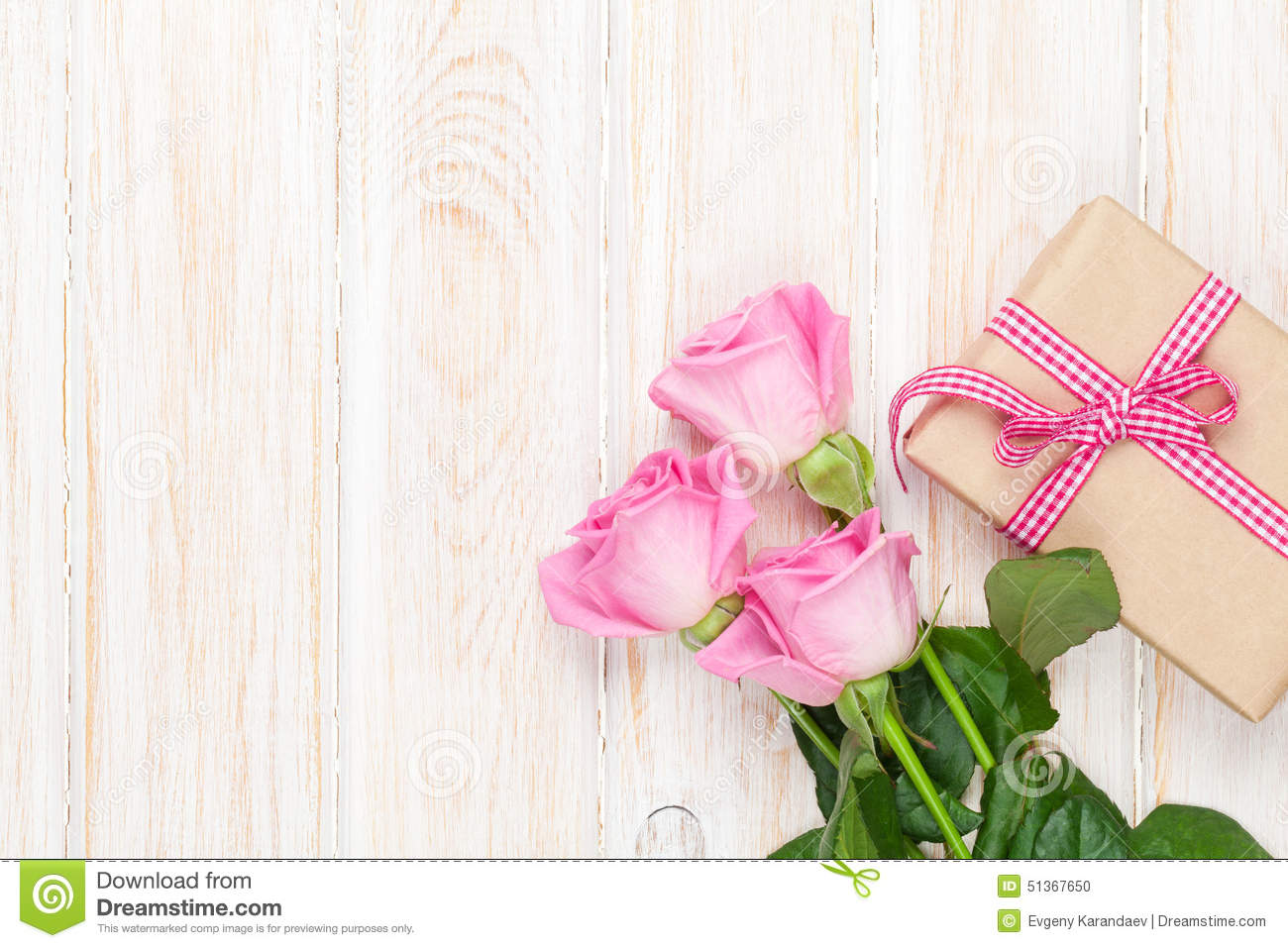 Valentines Day Background With Pink Roses Over Wooden