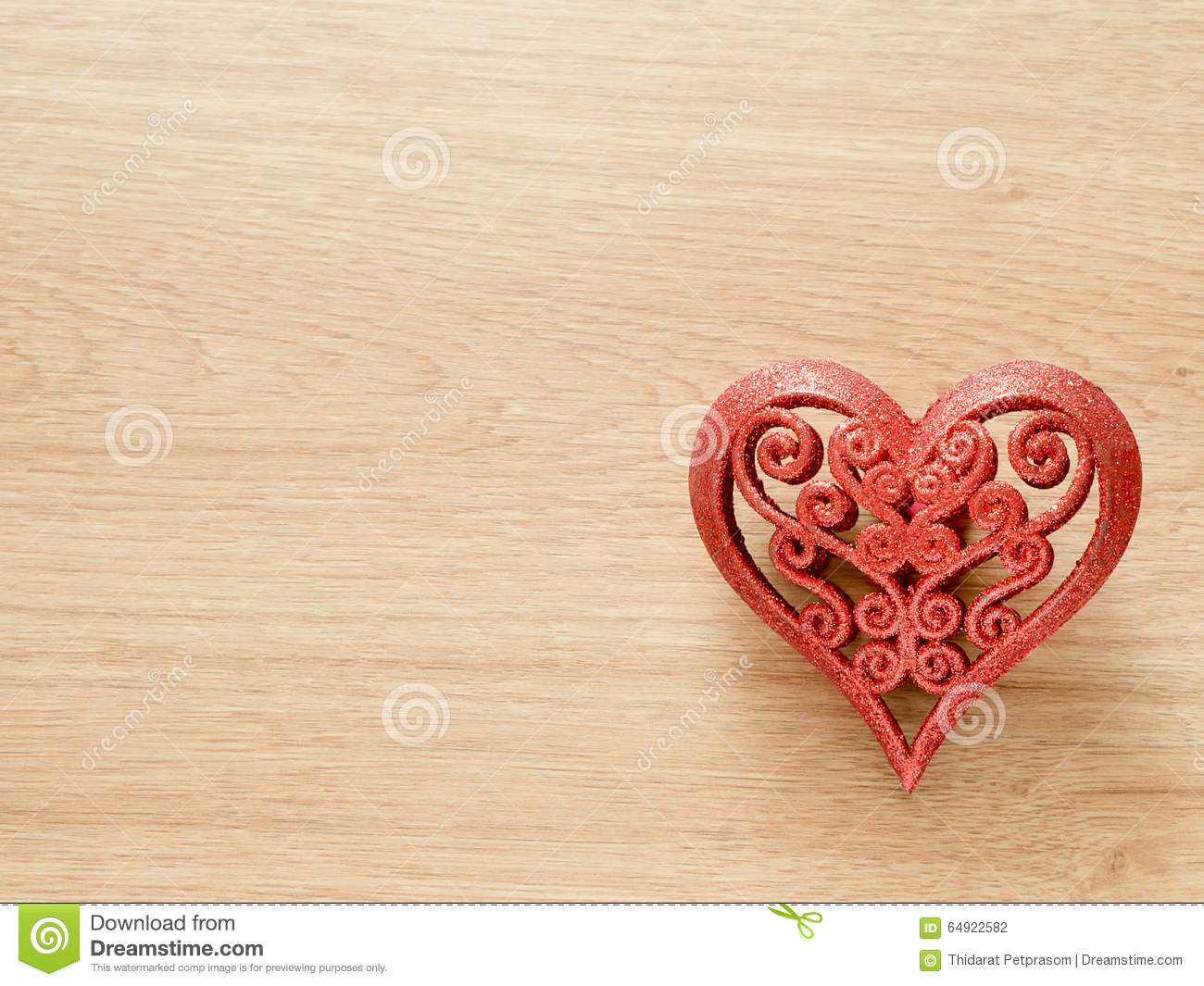 Valentines Day Background With Red Glitter Heart On Wood