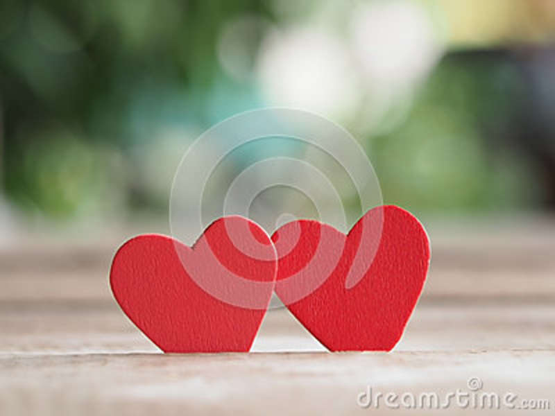 Valentines Day Background With Red Heart On Wood Floor Love And