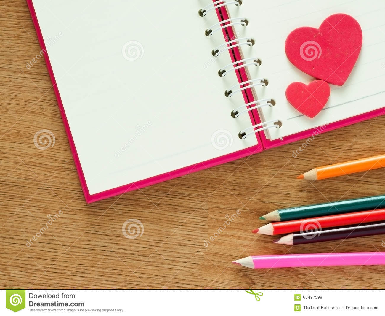 Book about color red - Valentines Day Background With Red Hearts Book For Diary And Color Pencils On Wood Floor