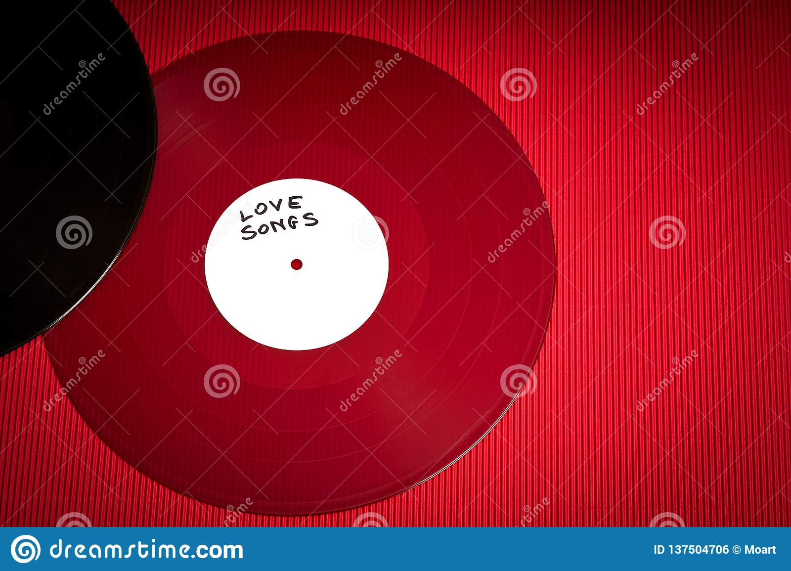 Valentines Day Background With Red LP Record With Love Songs