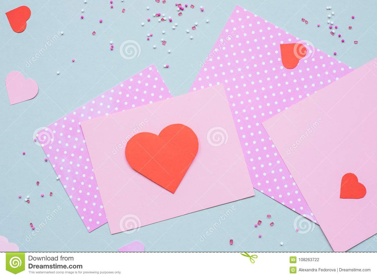 Valentines Day Background Valentine Card With Heart And Craft Paper