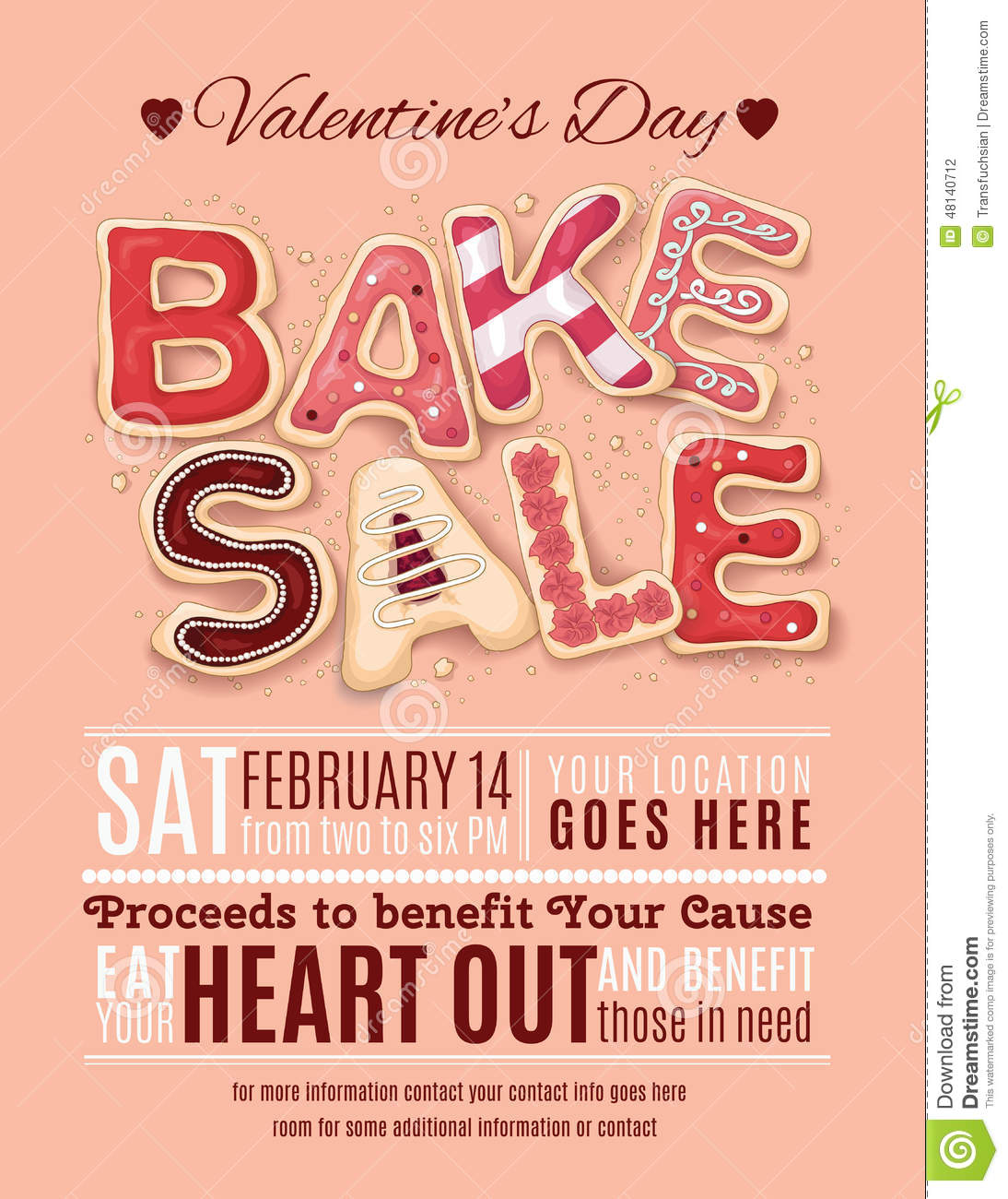 Valentines Day Bake Sale Flyer Template Stock Vector