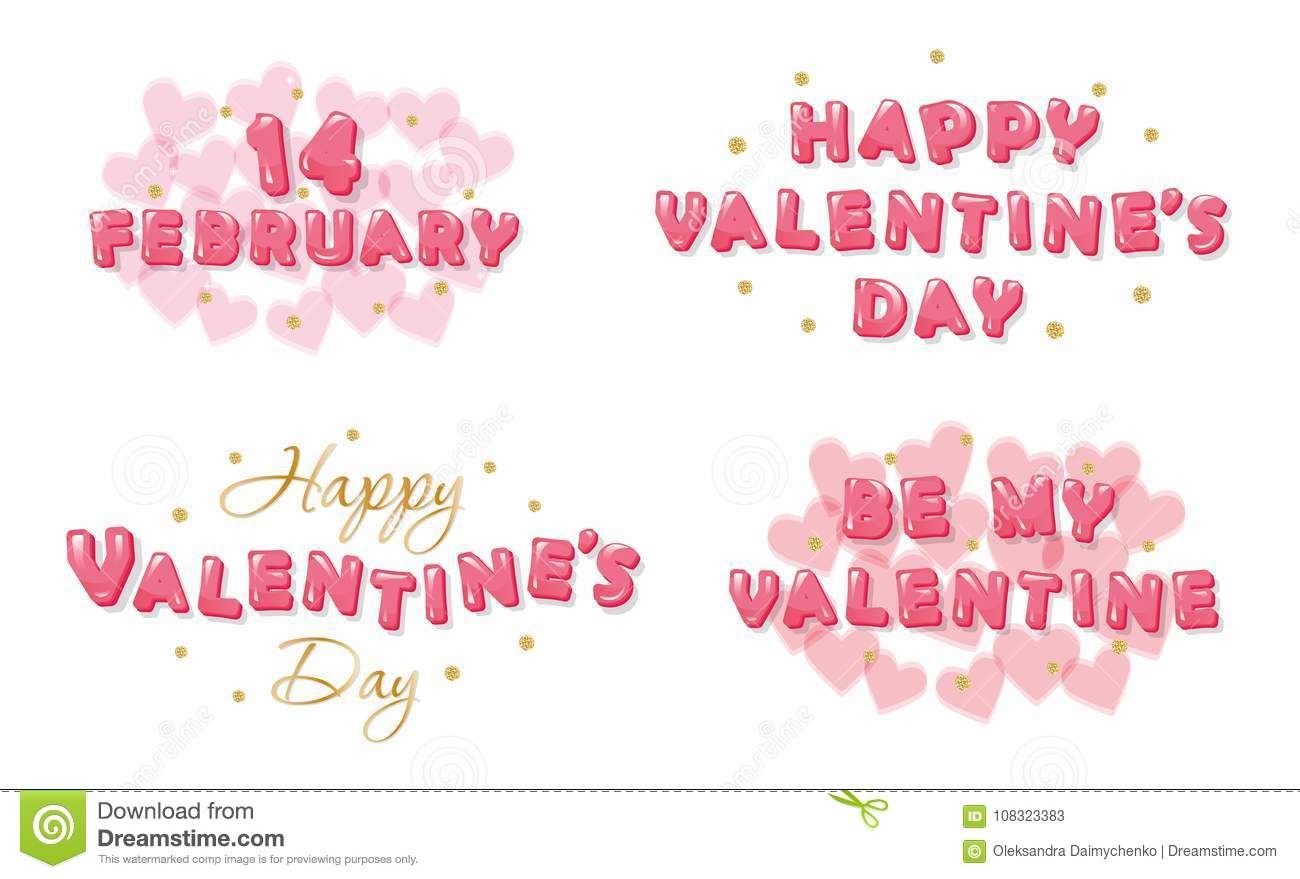 Valentines Day Banners Set Decorative Glossy Letters With Glitter