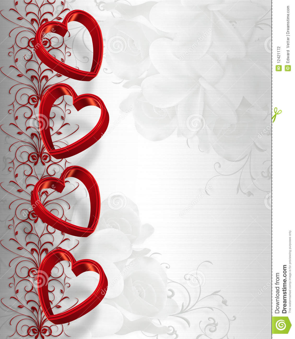 Illustrated 3D red hearts for Valentines day card, invitation border ...