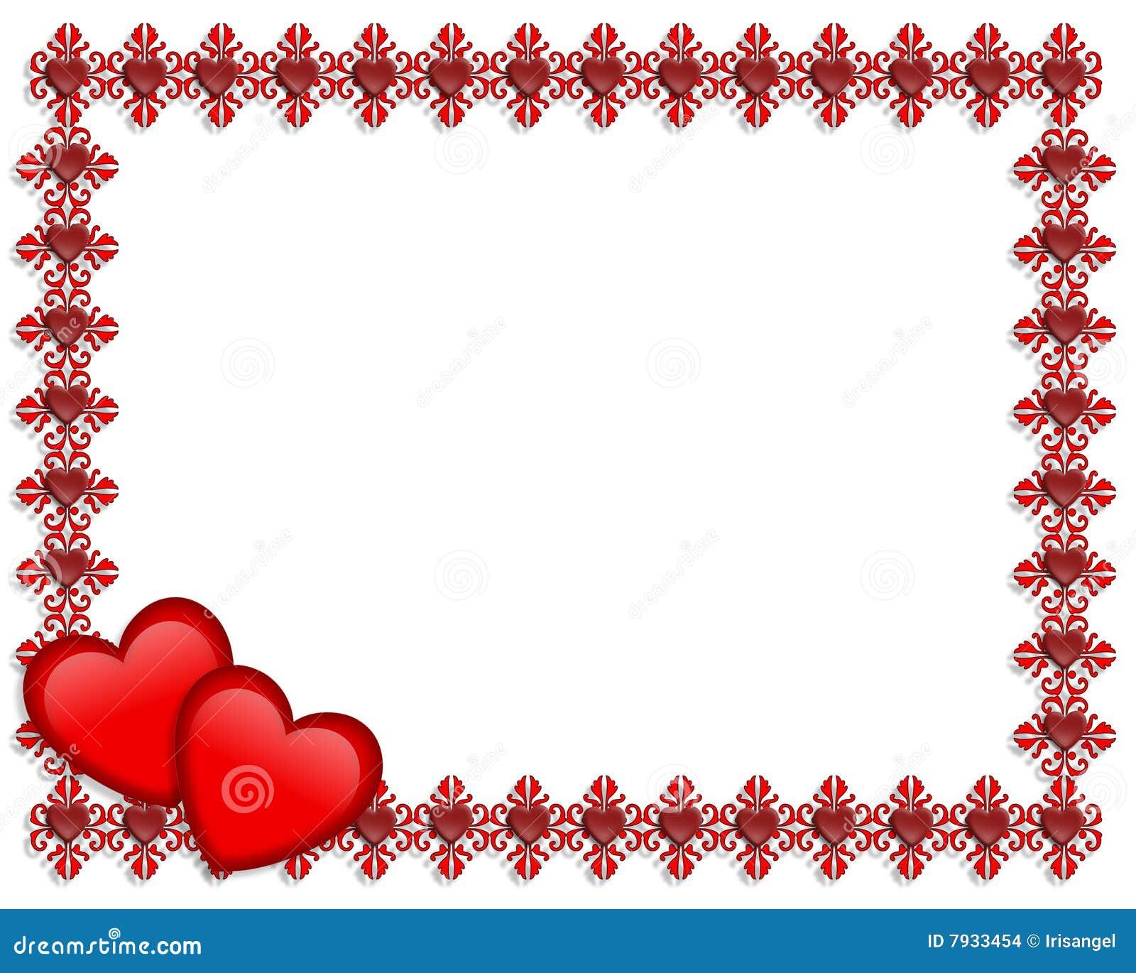 Valentines Day Border Hearts Stock Illustration - Illustration of ...