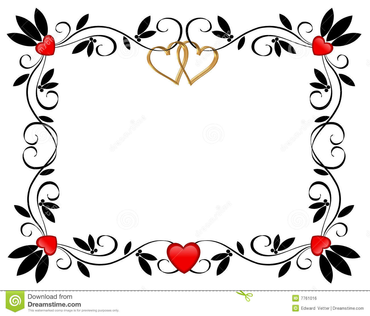 valentines day border hearts ornamental stock illustration