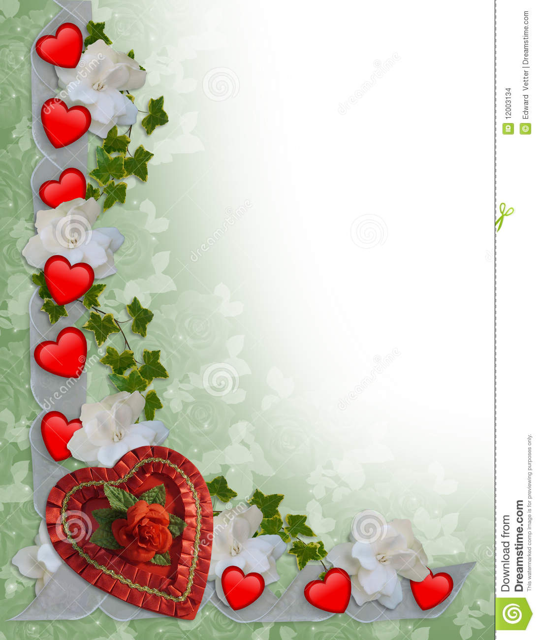 Valentines Day Border Hearts And Ribbons Stock