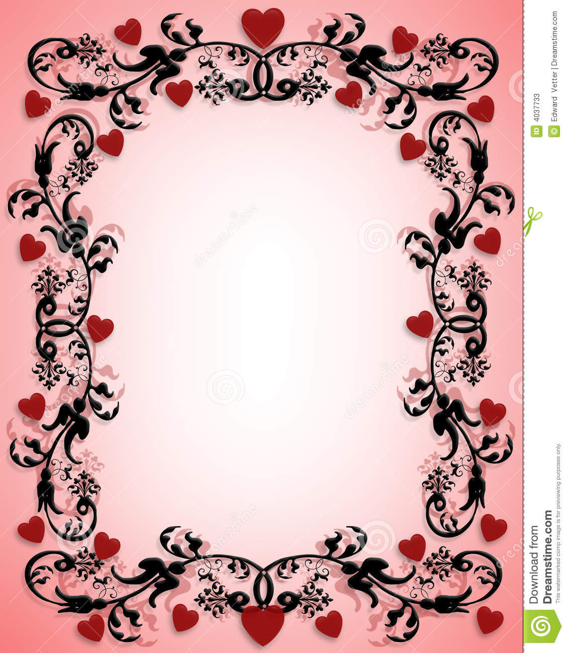 Valentines Day Border Ornamental Hearts Stock Photos - Image: 4037733