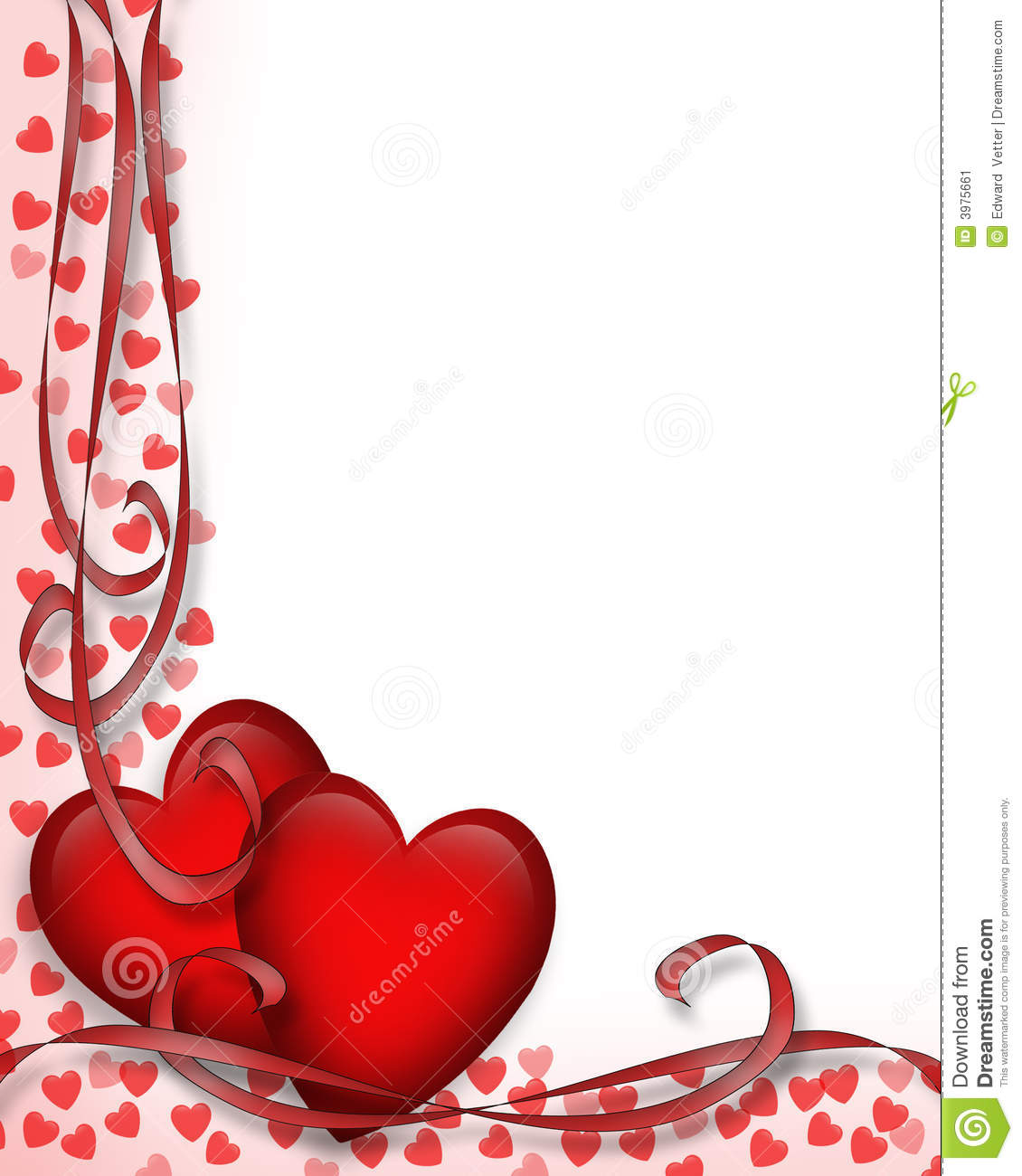 Valentines Day Border Red Hearts 3d Stock Image Image