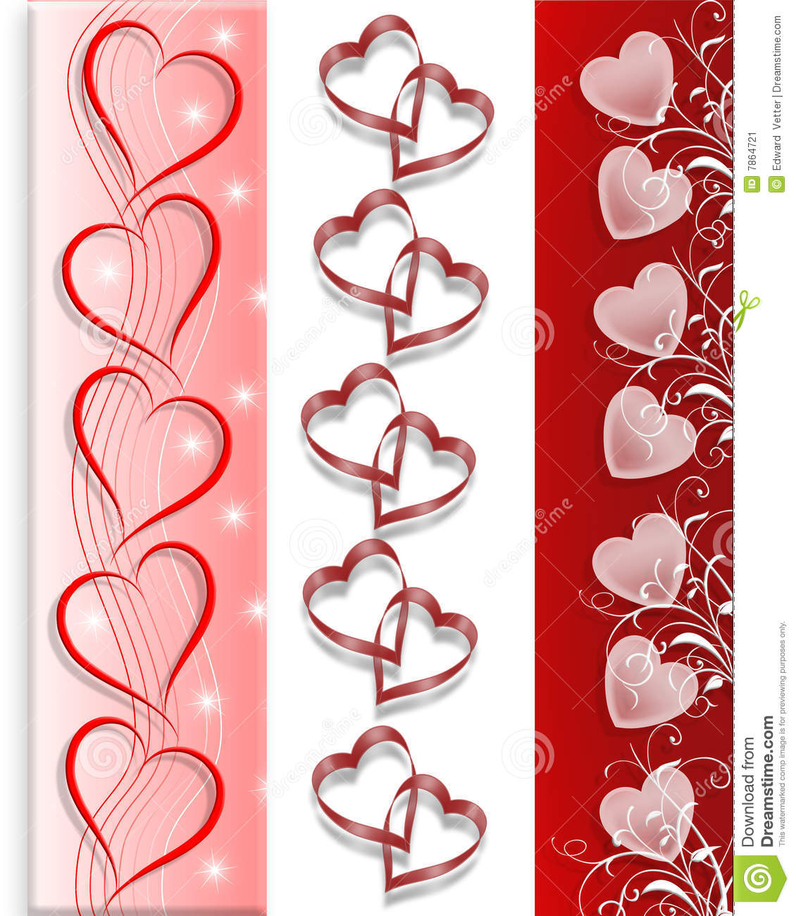 Valentine Hearts Borders in 3 Styles for cards letter invitation or ...