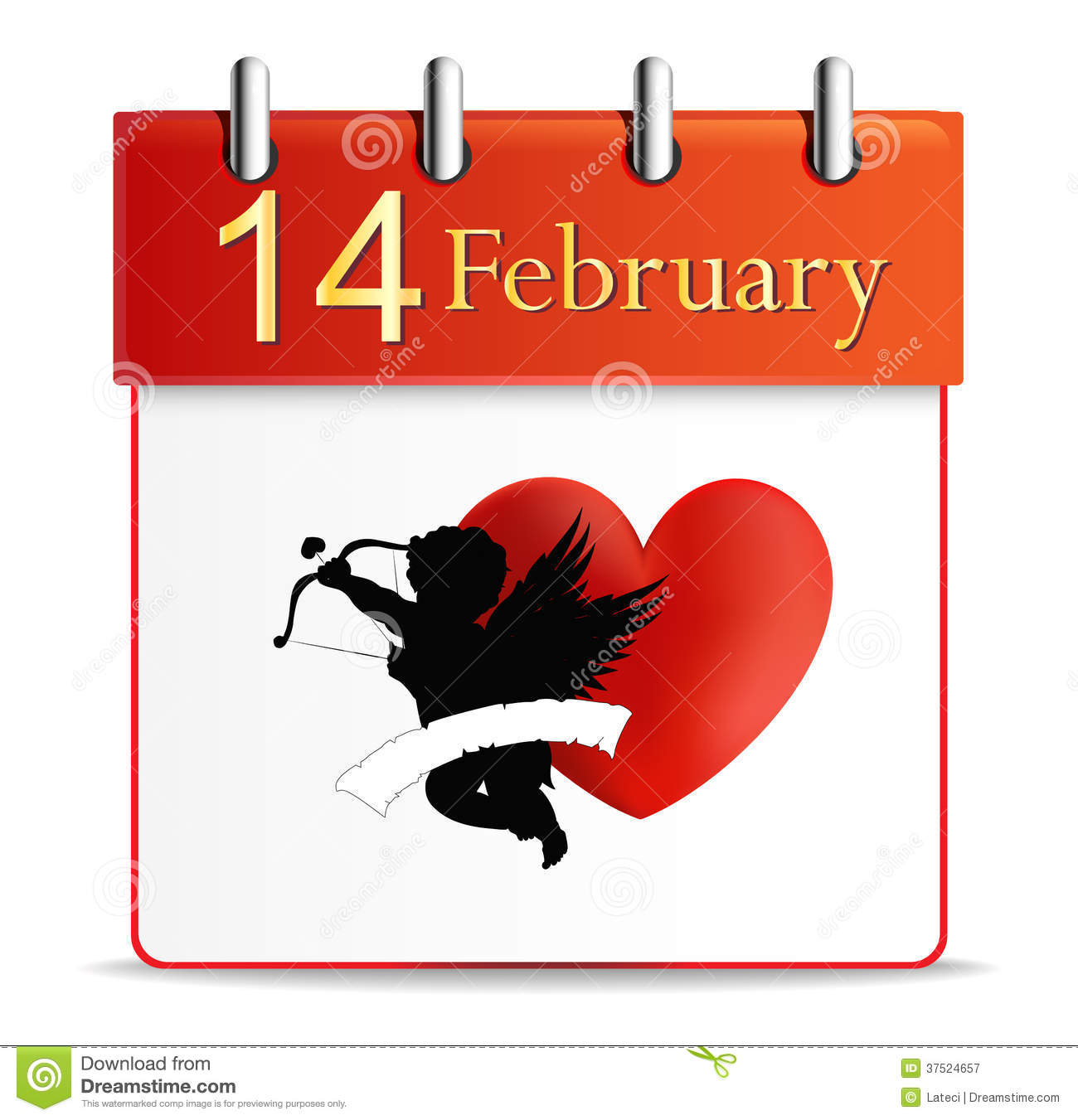 February Calendar Illustration : Valentines day calendar date february royalty free stock