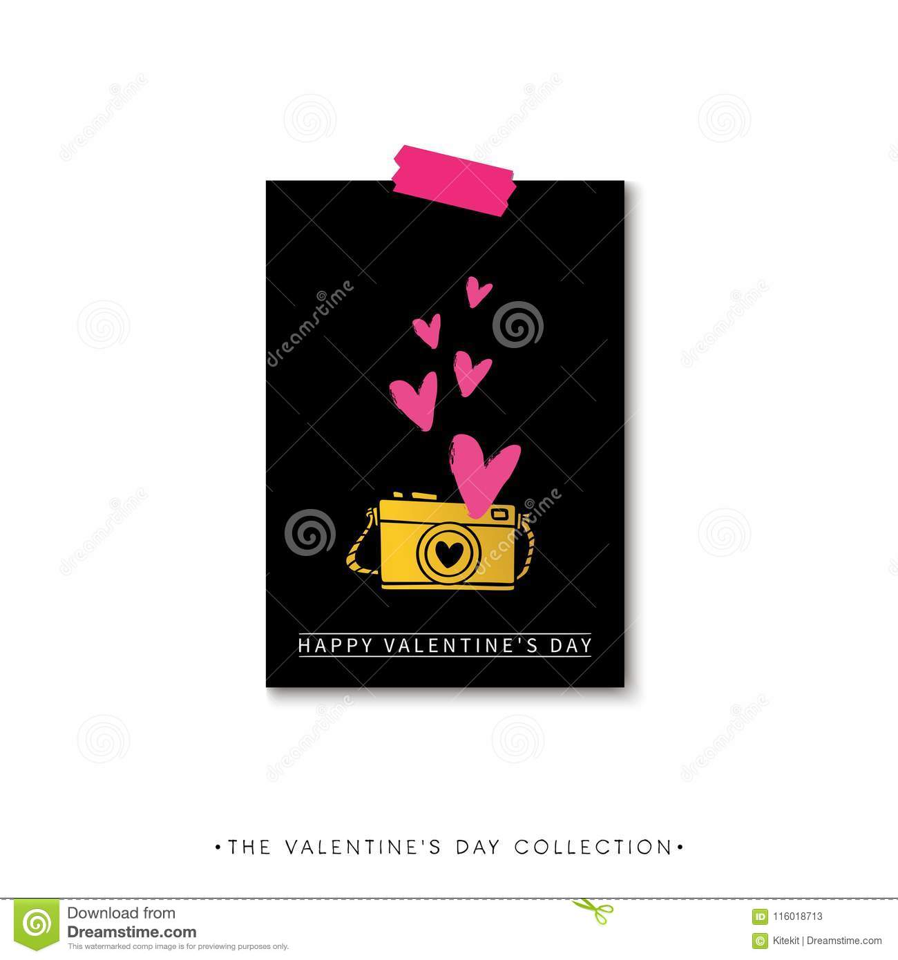 valentines day calligraphy gift card camera and hearts hand dr