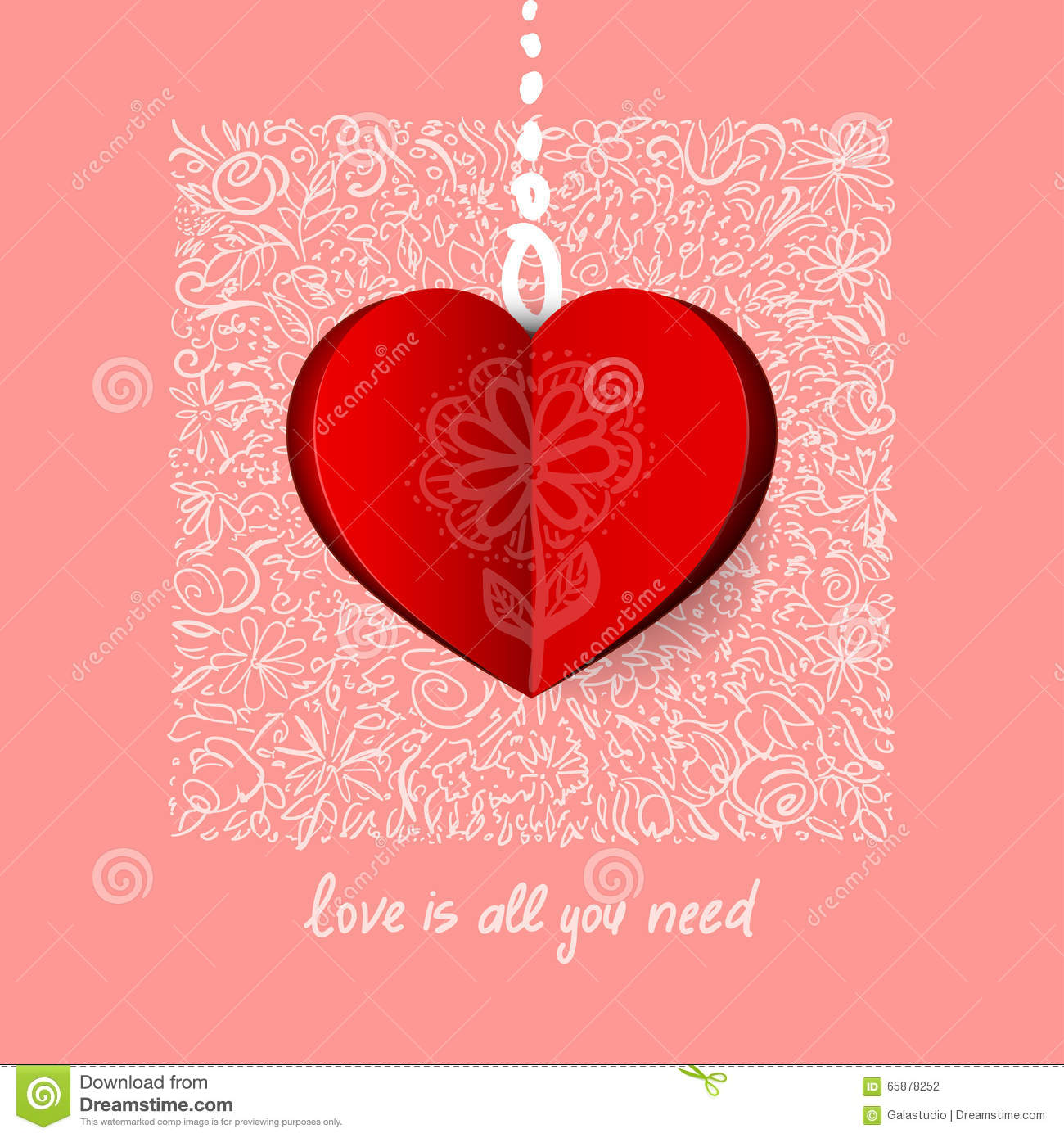 Valentines day calligraphy greeting card stock