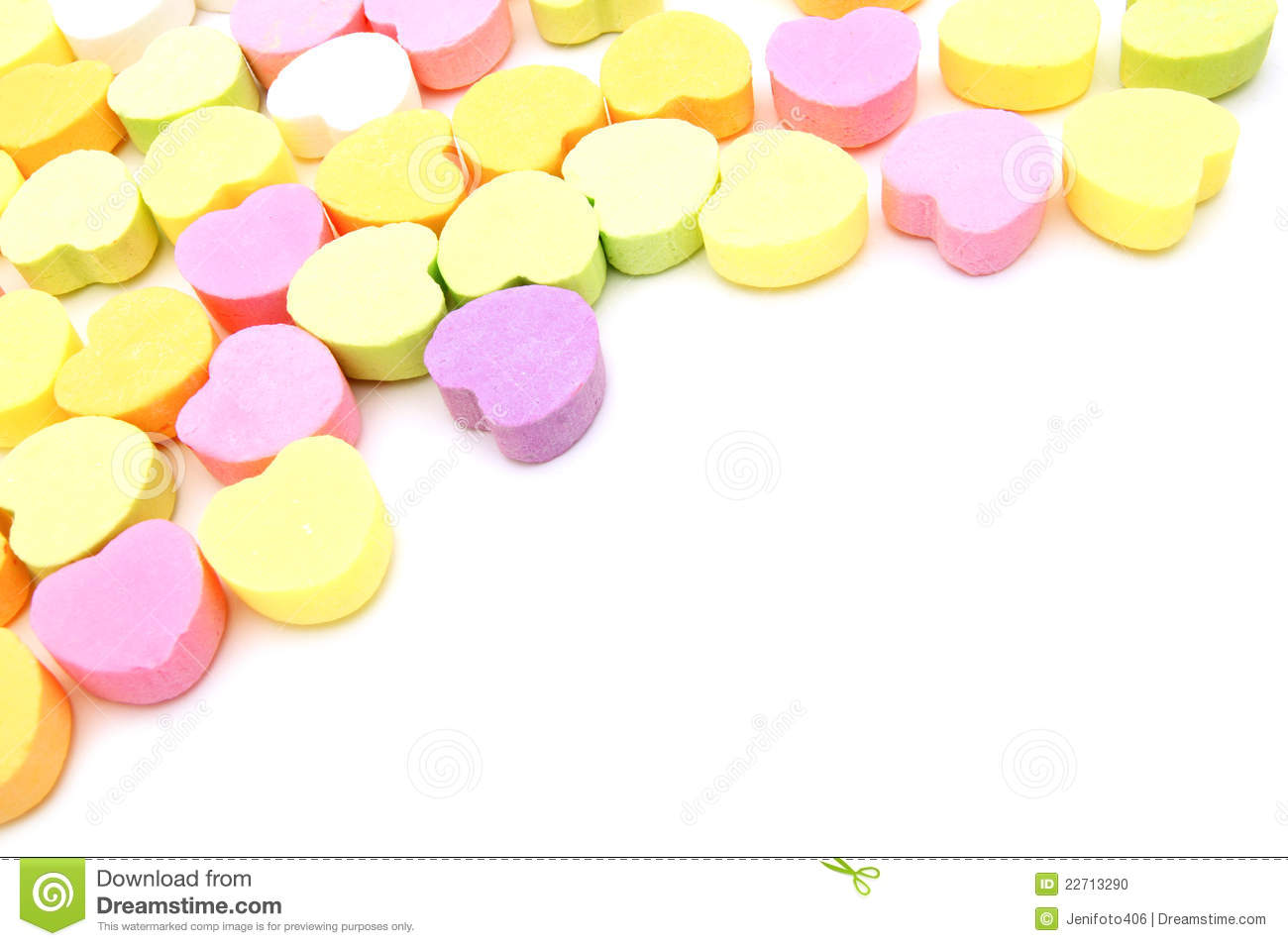 Valentines Day candy background or corner border over white.