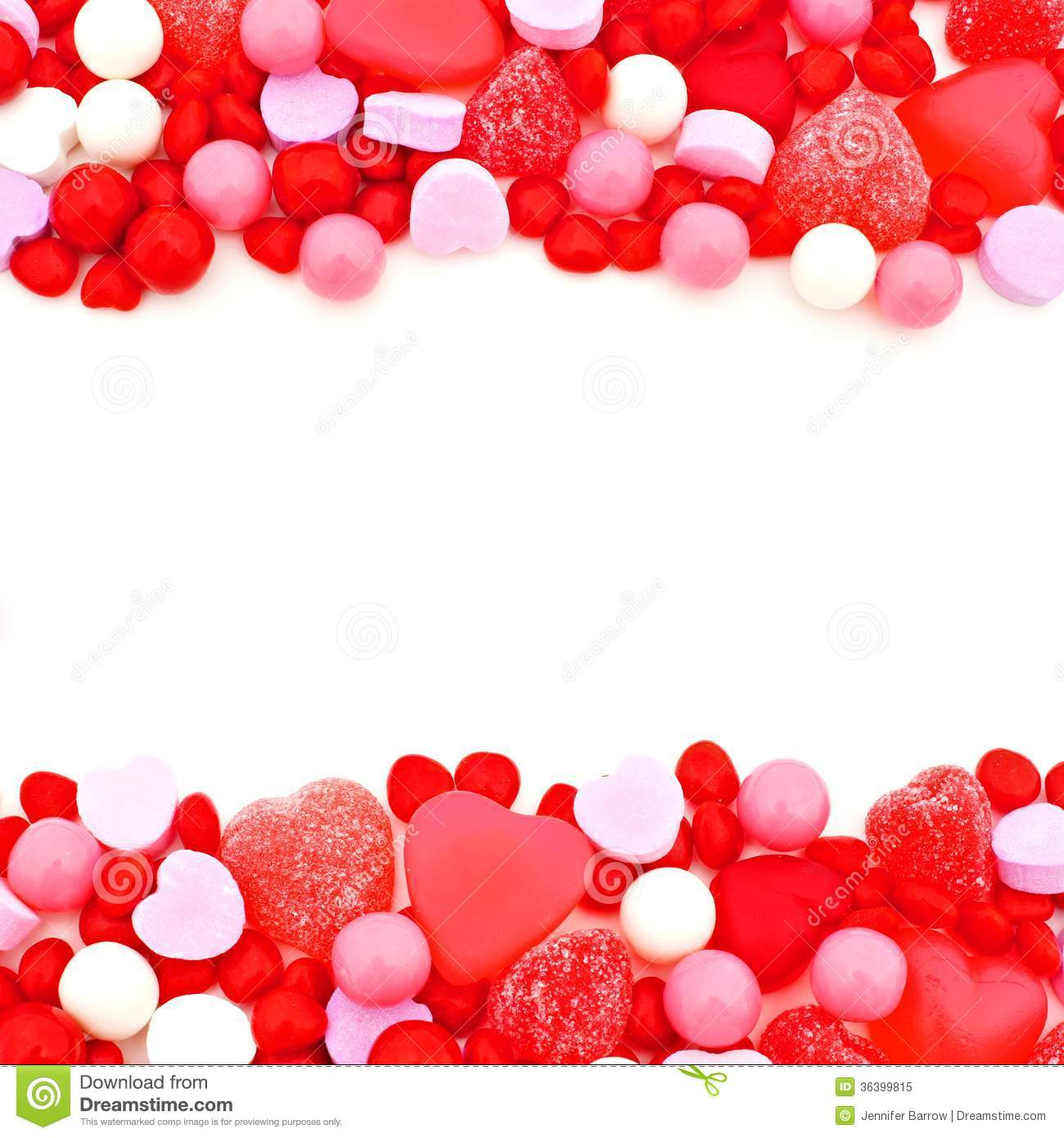 Valentines Day double edge border of red  pink and white candies Valentines Day Candy Borders Free