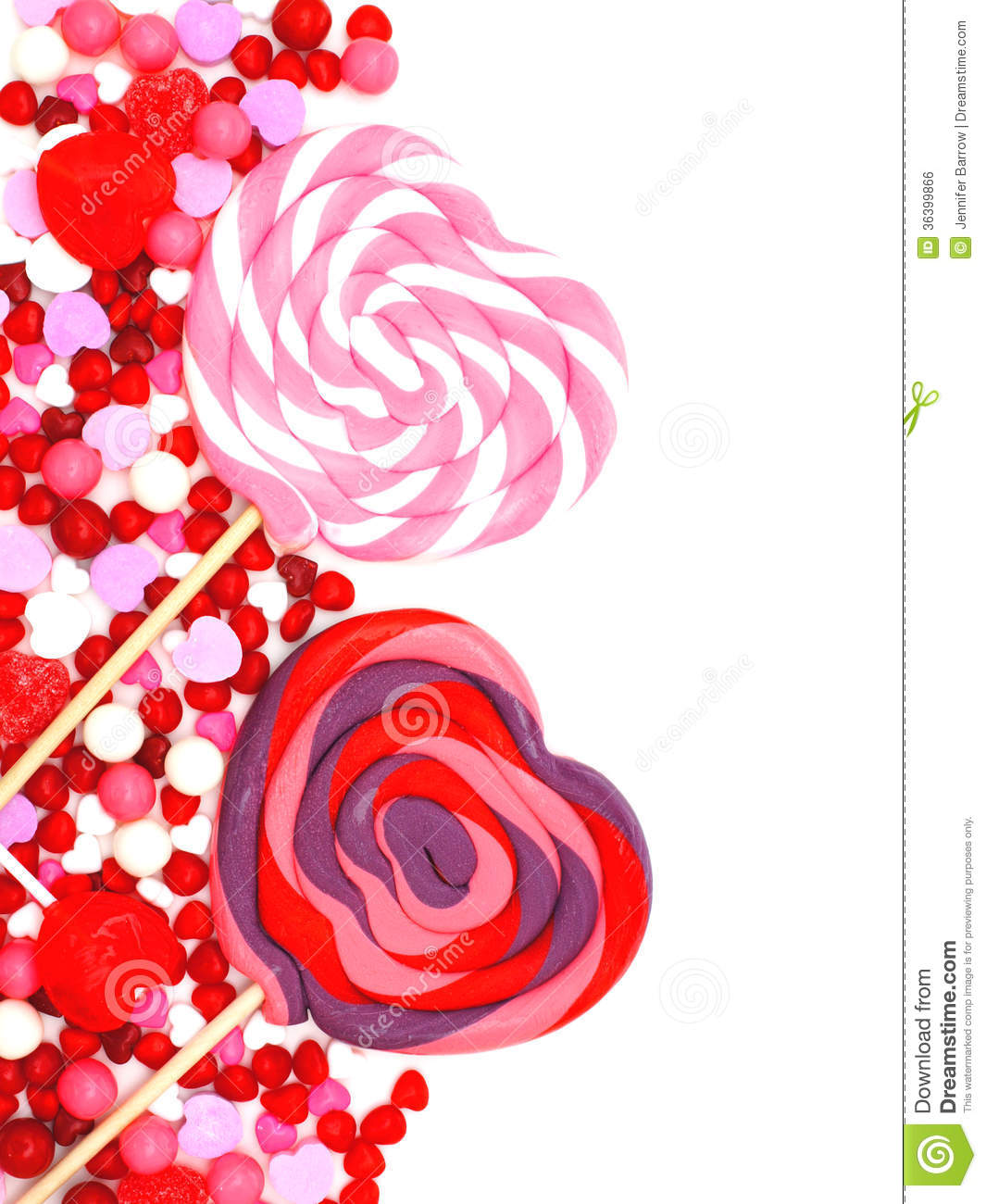 Heart shaped lollipops and candy border over white Valentines Day Candy Borders Free