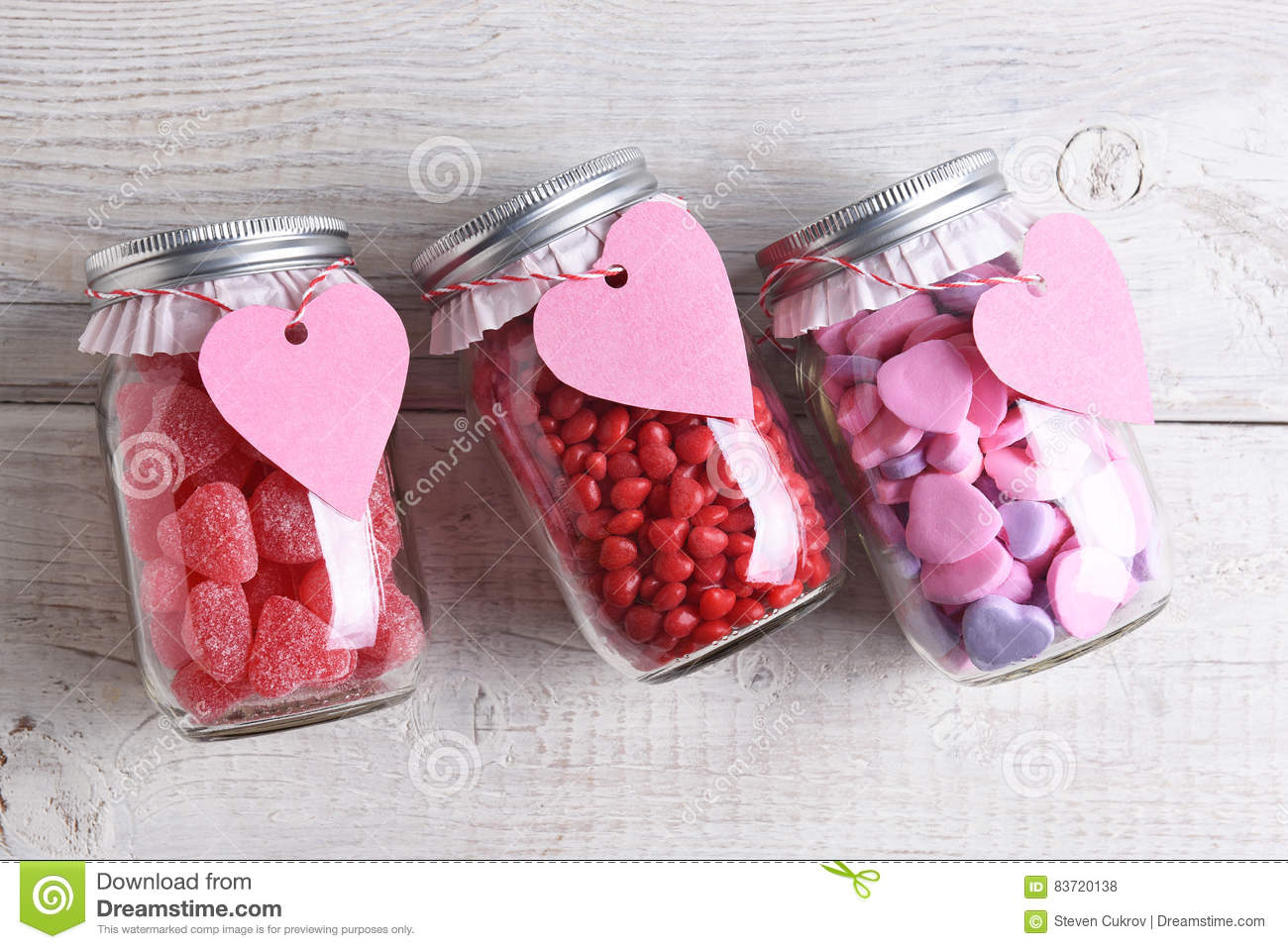 Valentines Day Candy Jars Stock Photo Image Of Table 83720138