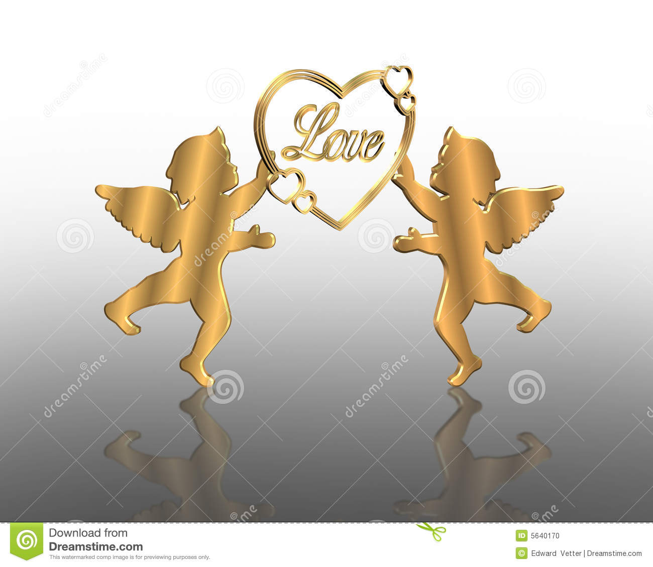 valentines day card 3d gold cupids stock photo