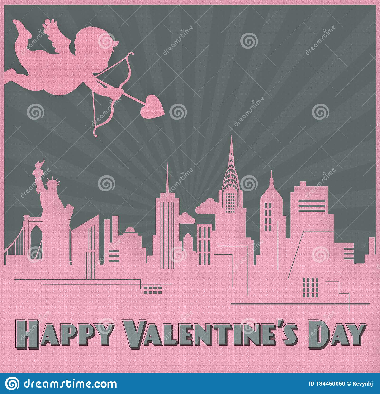 Valentines Day Card Art New York Skyline Cupid