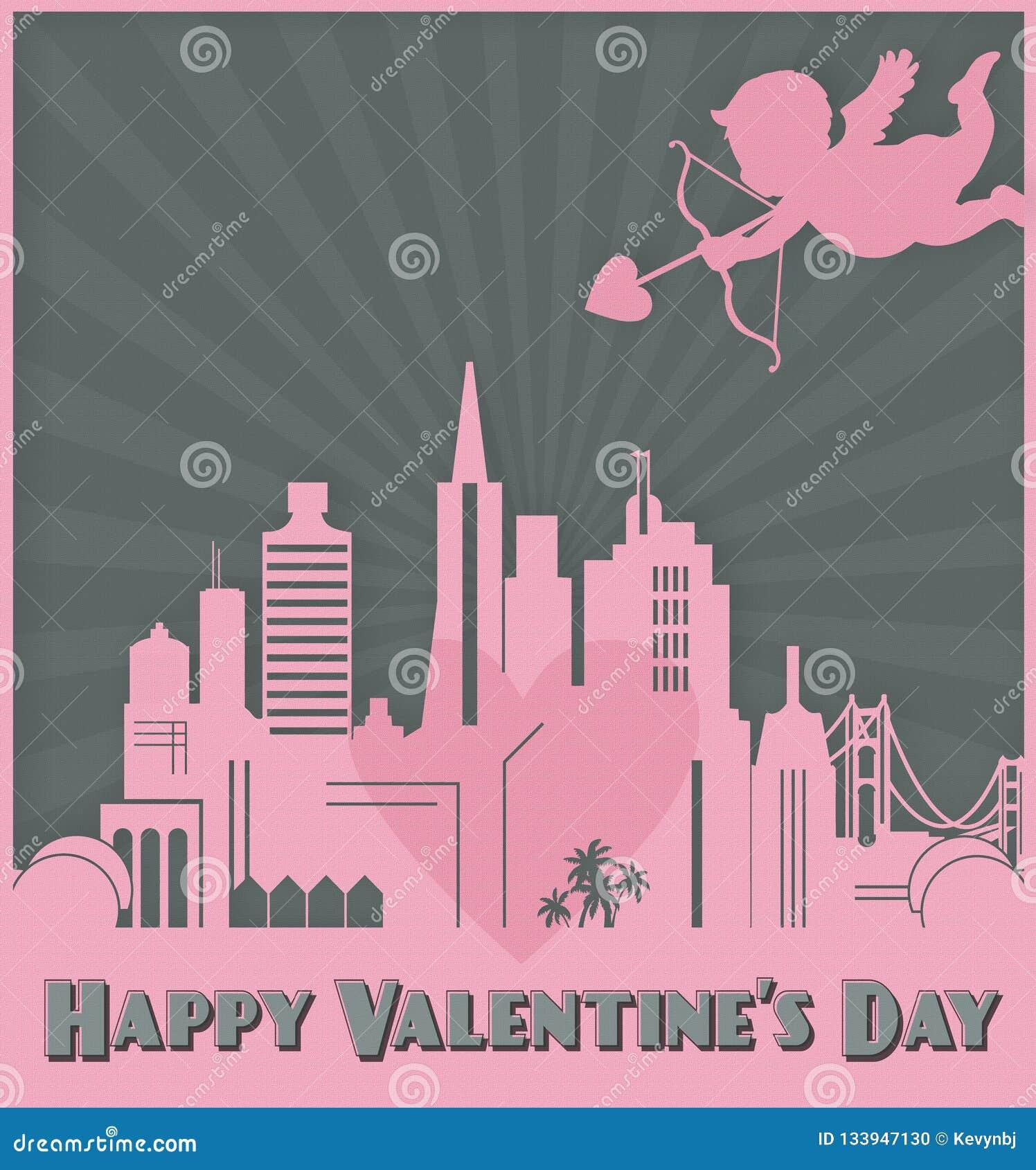 Valentines Day Card Art San Francisco Skyline Cupid