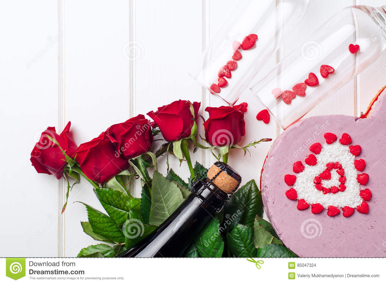 Valentines day card bouquet of red roses cake and champagne stock download valentines day card bouquet of red roses cake and champagne stock photo izmirmasajfo