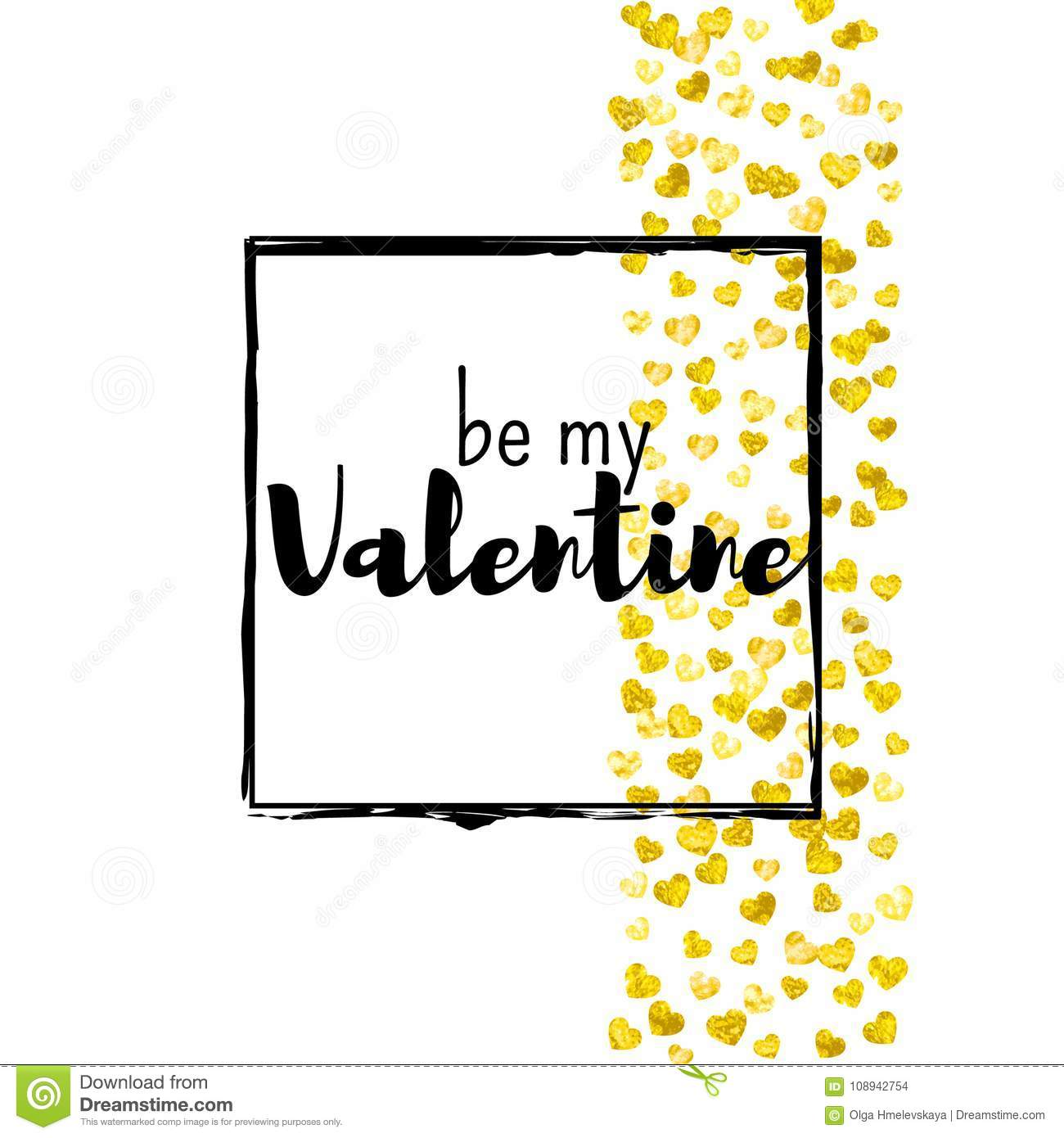 Valentines Day Card With Gold Glitter Hearts February 14th Vector