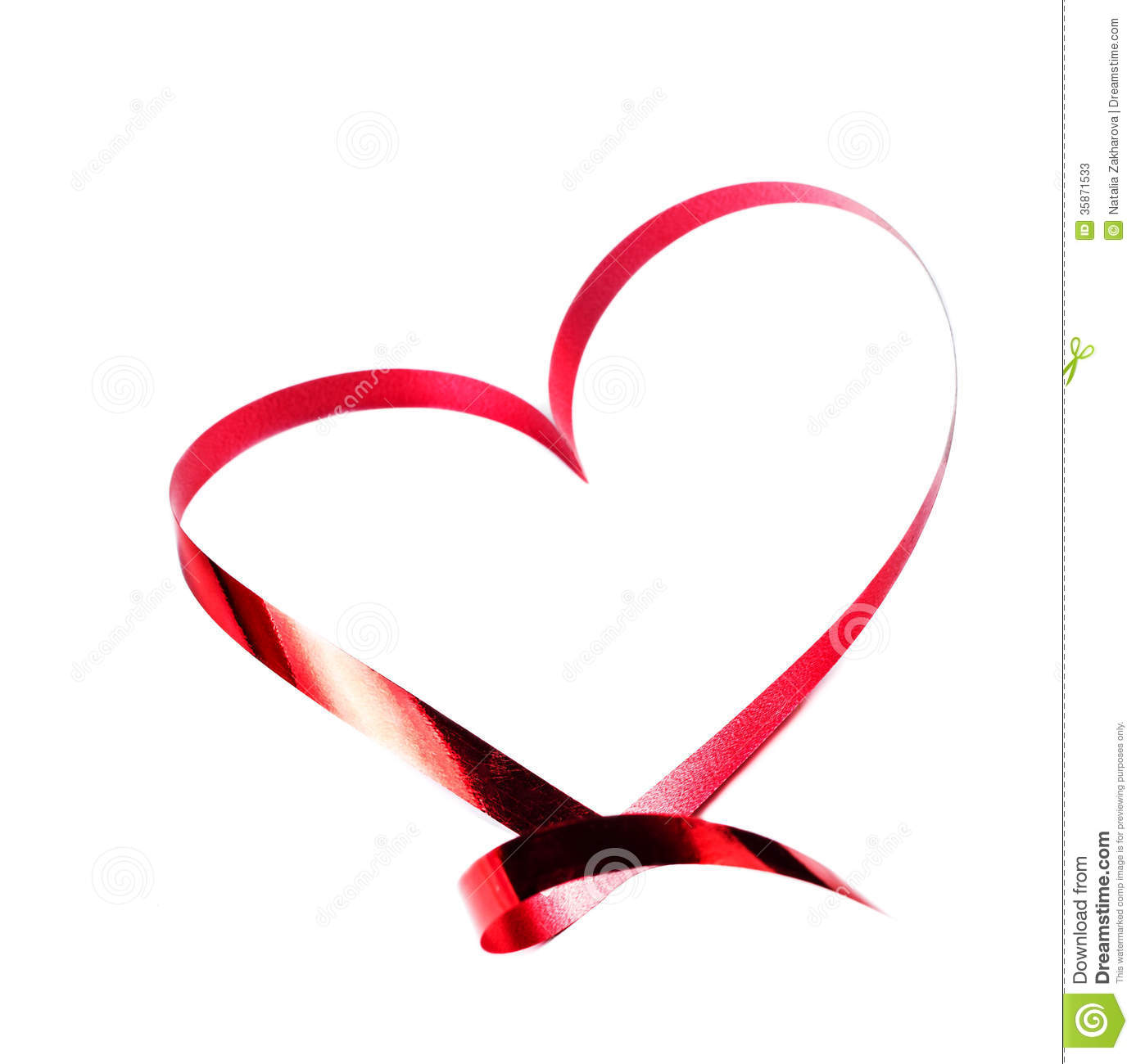 Valentines Day Card Heart Made Of Red Ribbon Isolated On White