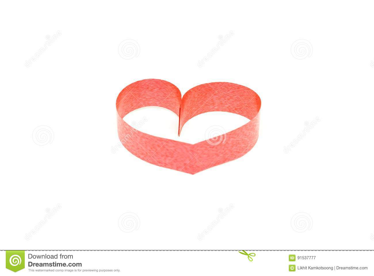 Valentines Day Card Heart Made Of Ribbon On White Background Stock