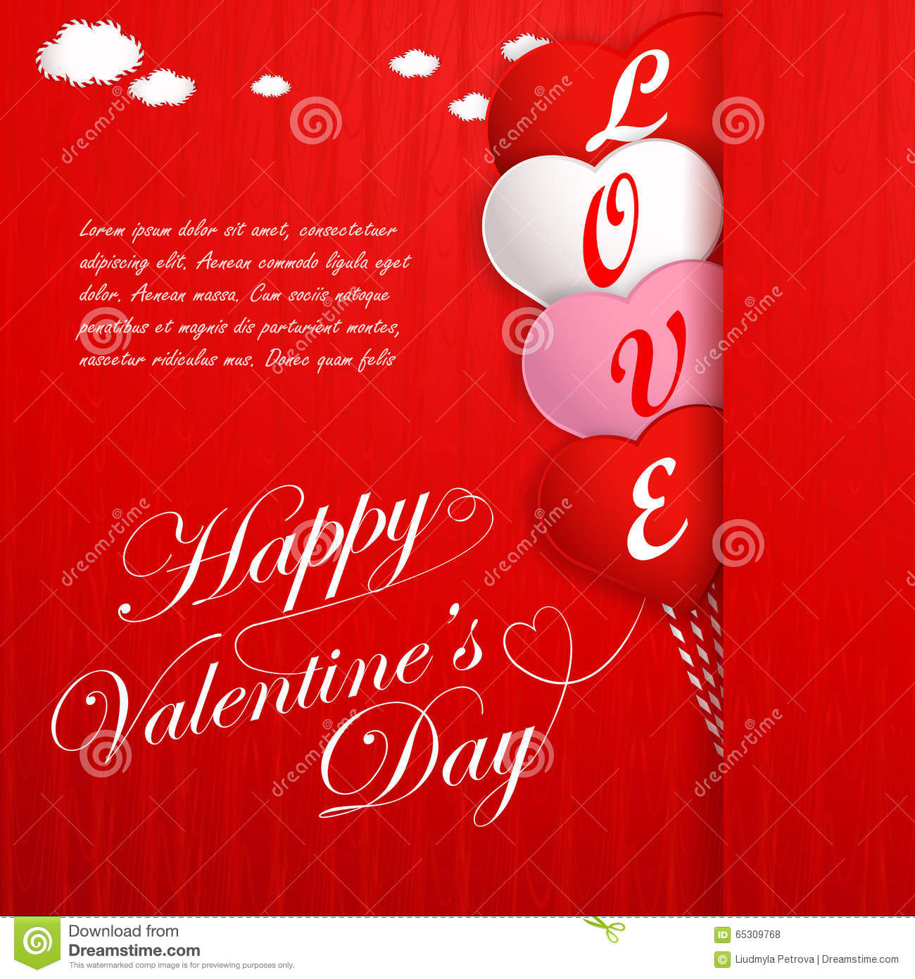 Valentines Day Card With Hearts And Words Of Love Vector – Valentine Card Words
