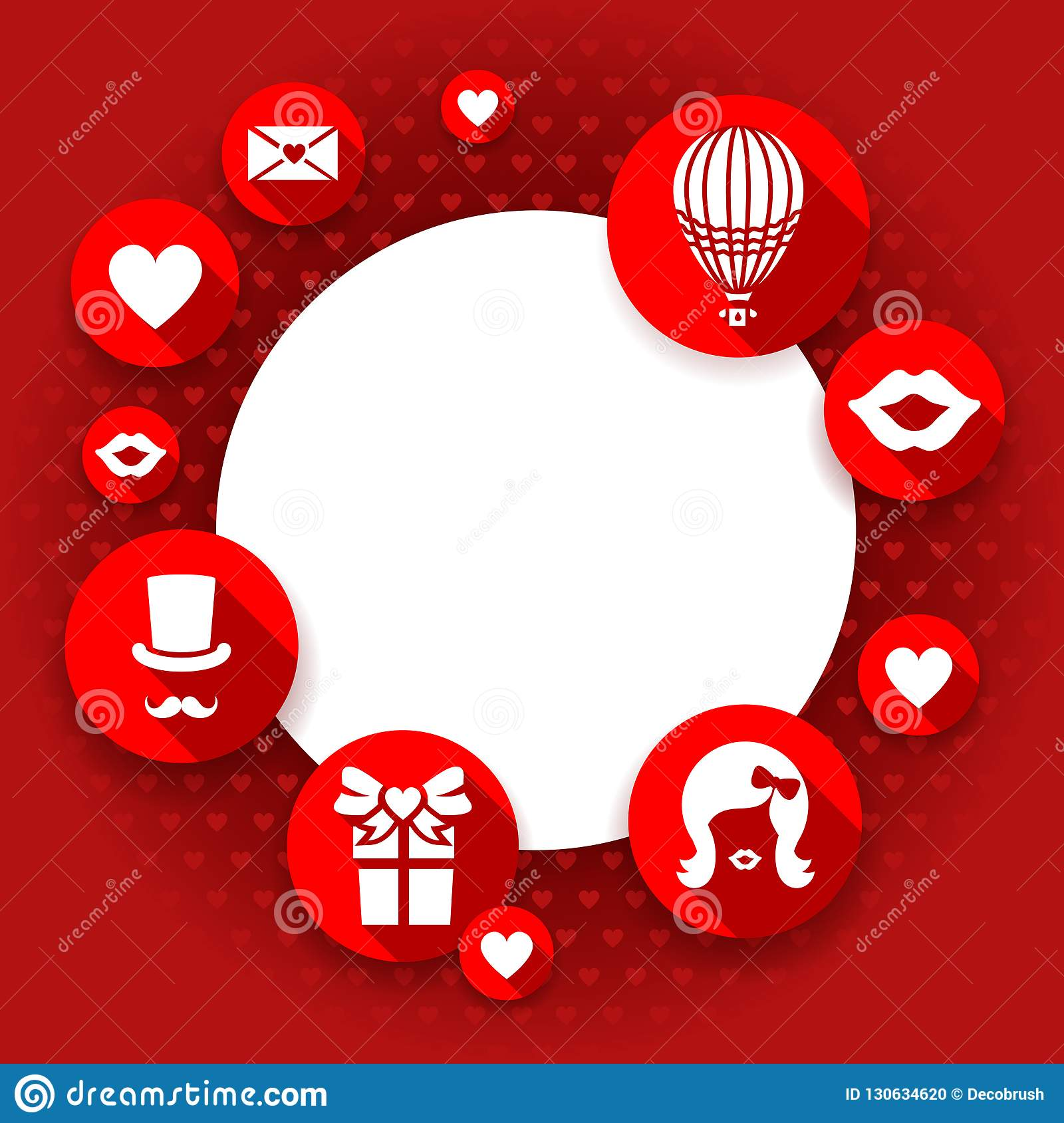 Valentines Day Card Love Red Background Flat Icons And Copy Space