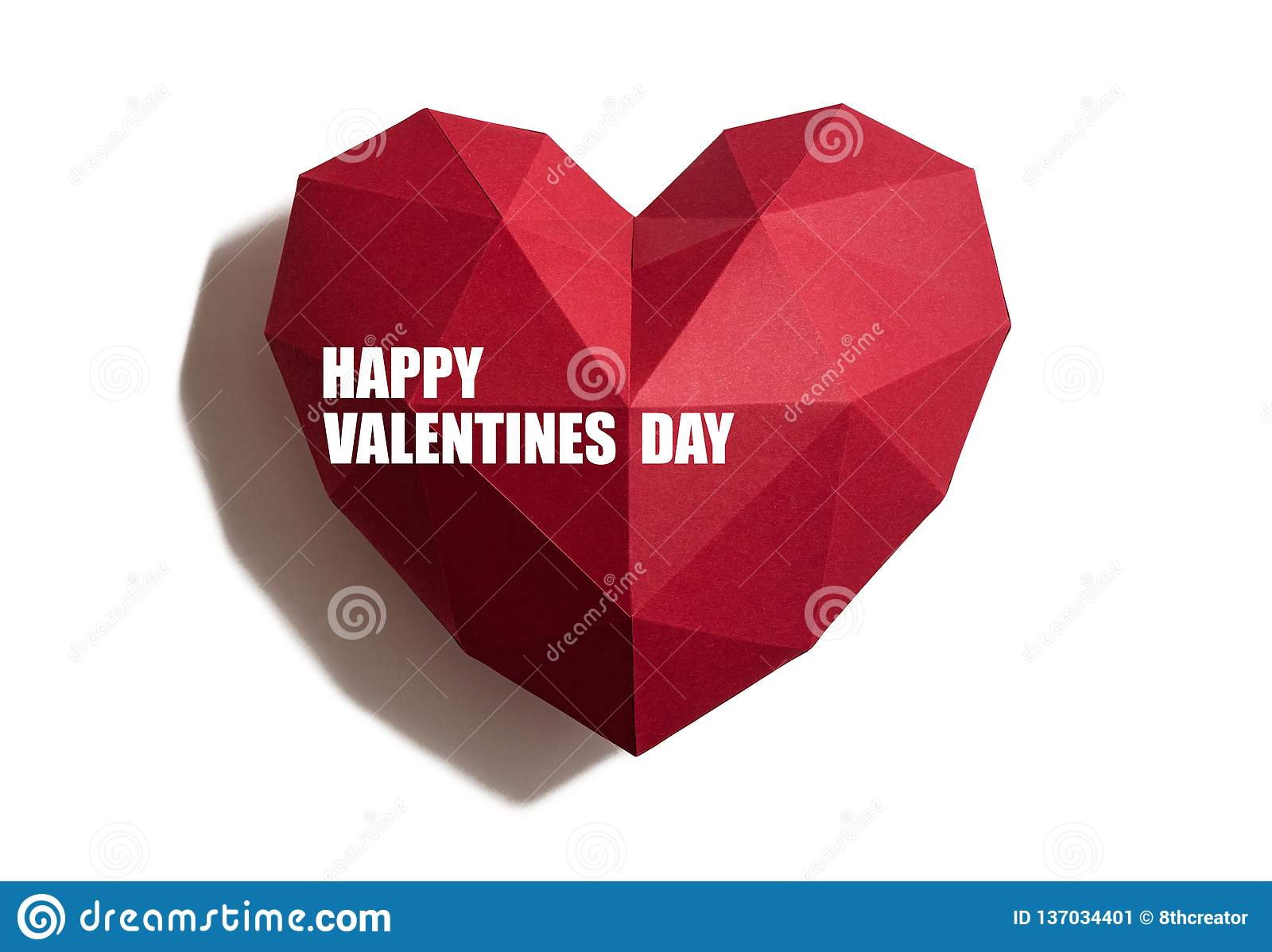 Valentines Day card. Paper hearth with text `Happy Valentines Day`