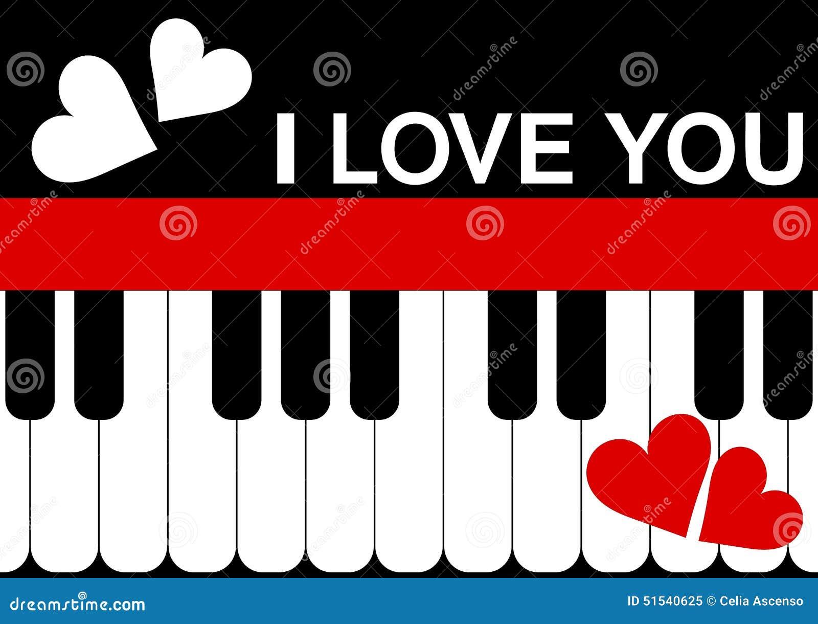 Valentines Day Card Piano Message Stock Illustration Illustration