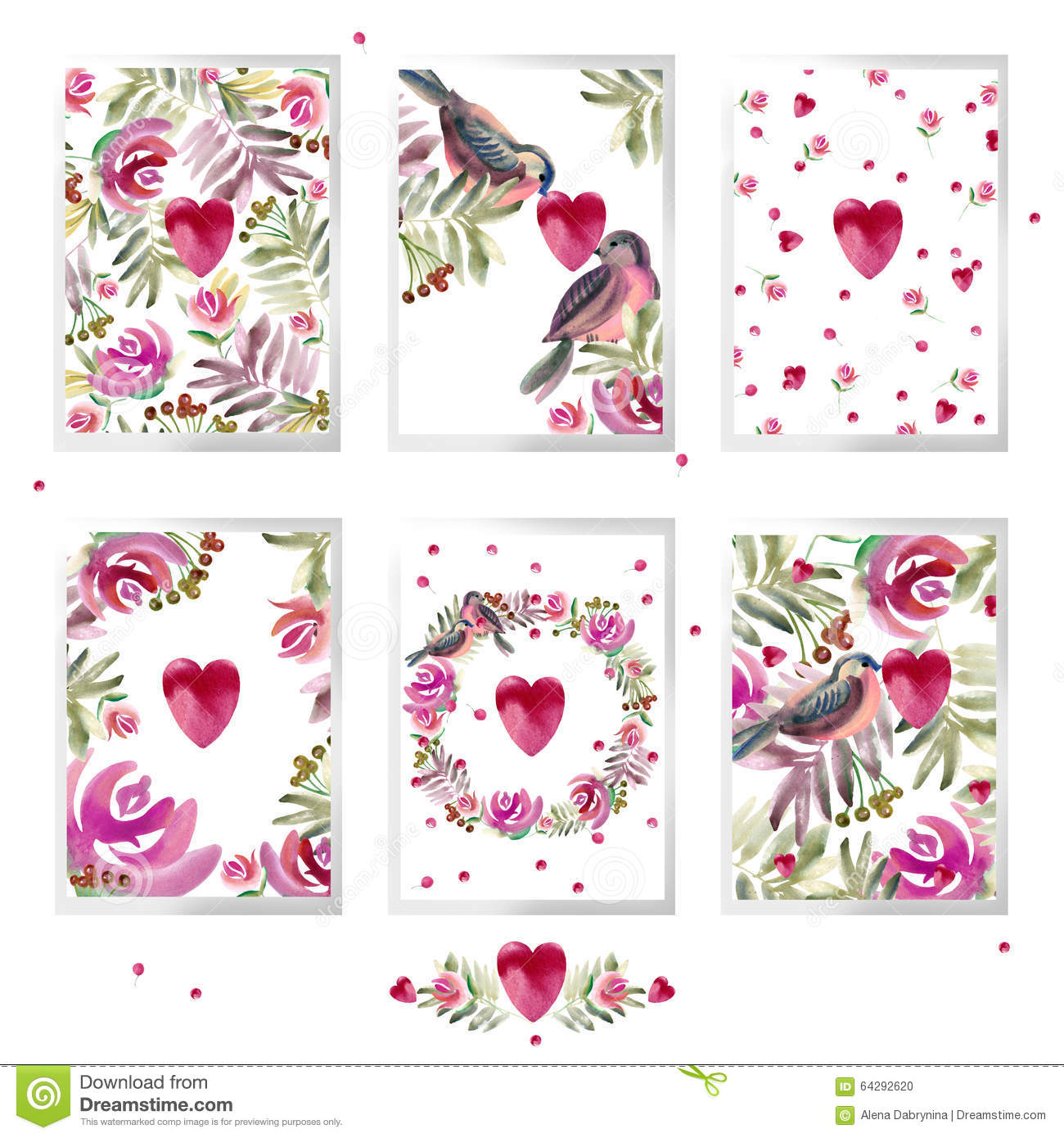valentines day card set watercolor valentines day design