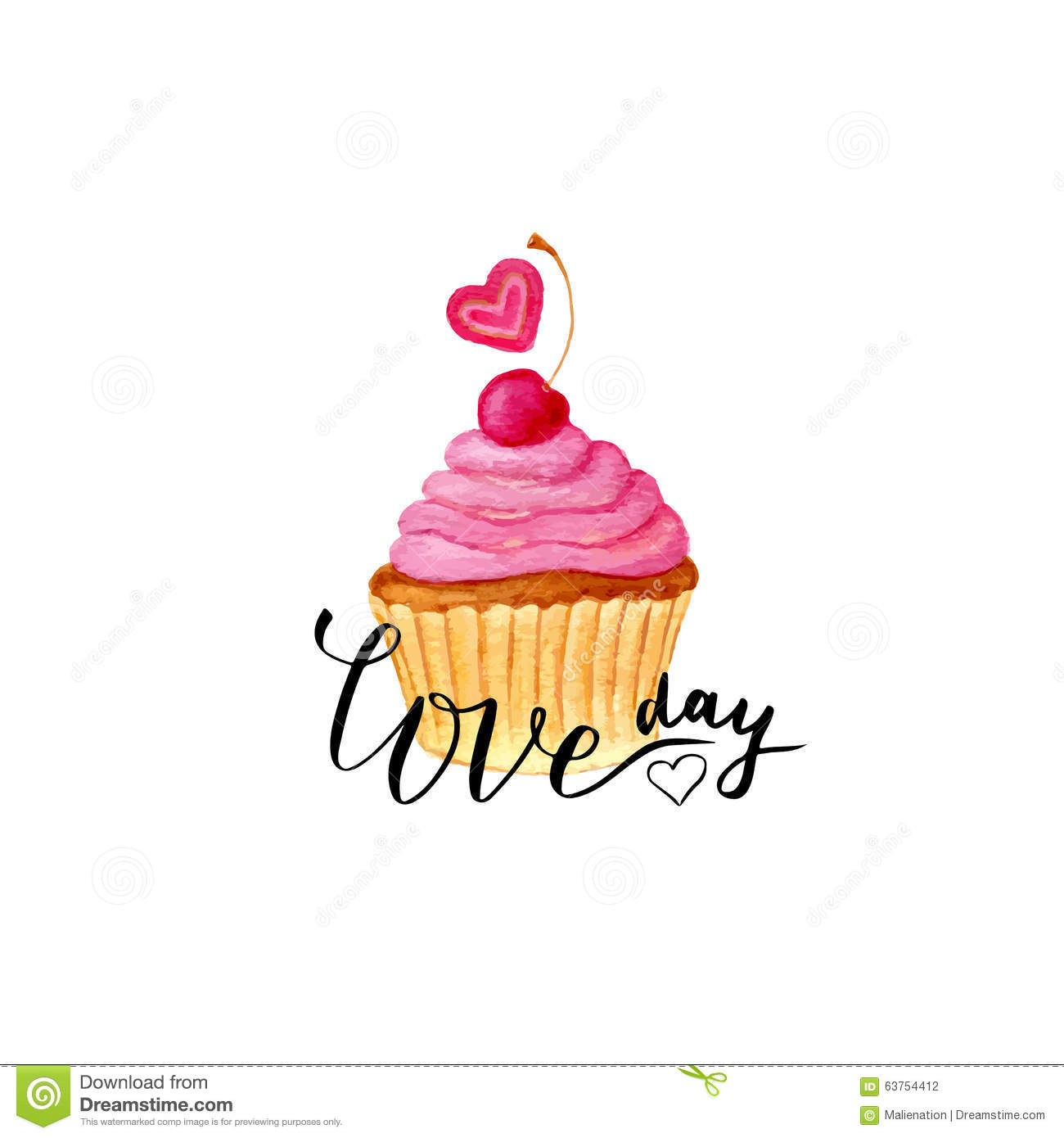 Valentines Day Card Vector Lettering With Painting Cute Cupcake – Cupcake Valentine Card