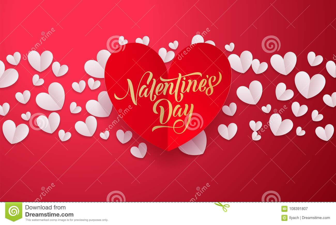 Valentines Day Card With Vector Papercut Heart On White Background