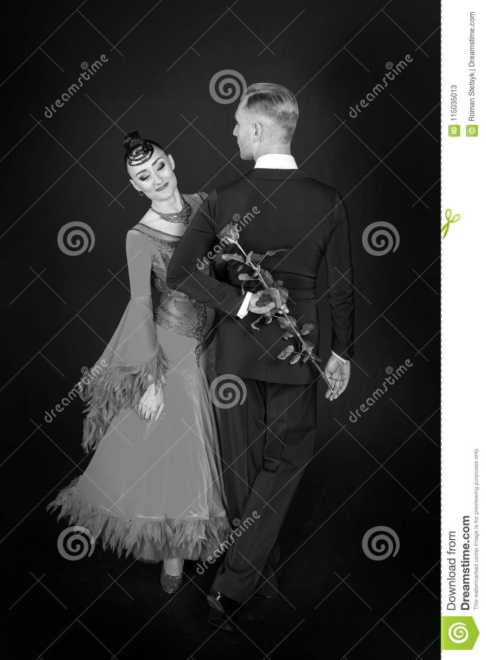 Valentines Day Celebration Sensual Woman And Man Dance With Rose
