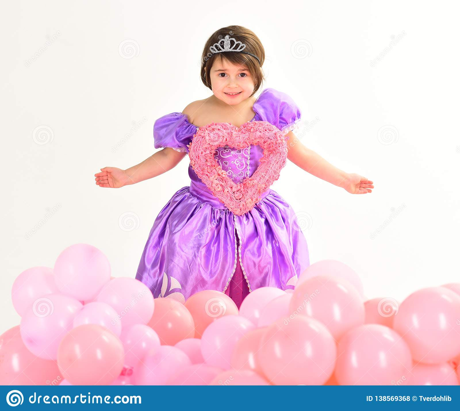 Valentines day. Childhood happiness. Kid fashion. Little miss in beautiful dress. Childrens day. Small pretty child hold