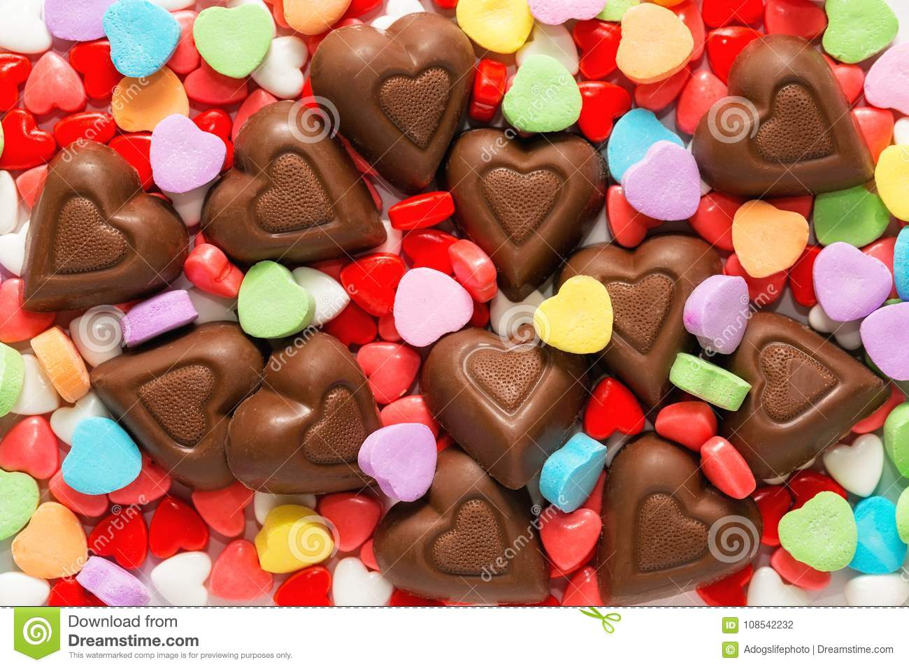Valentines Day Chocolate Hearts Stock Photo Image Of Shaped Candy