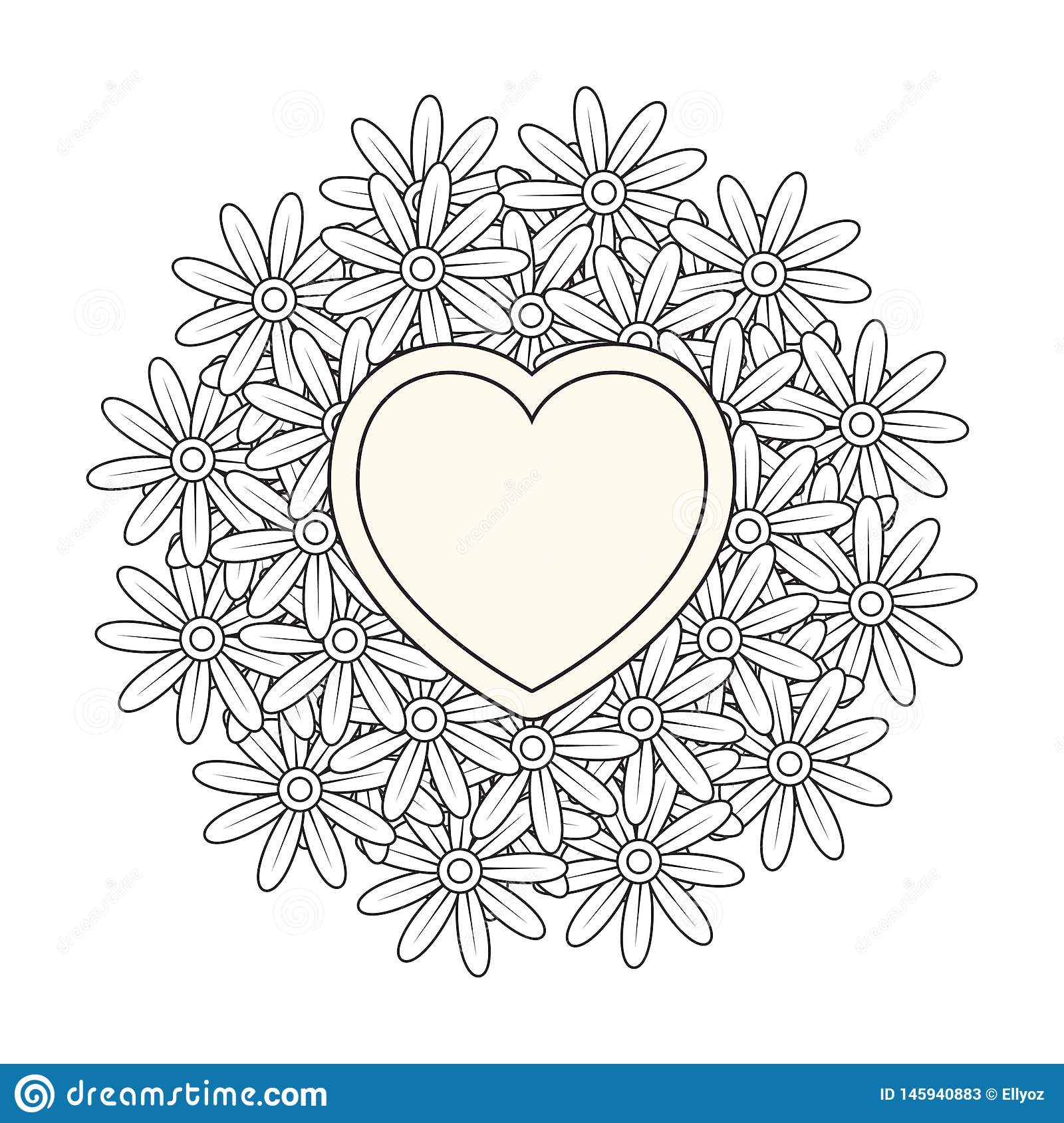 Valentines Day Coloring Page Stock Vector - Illustration ...